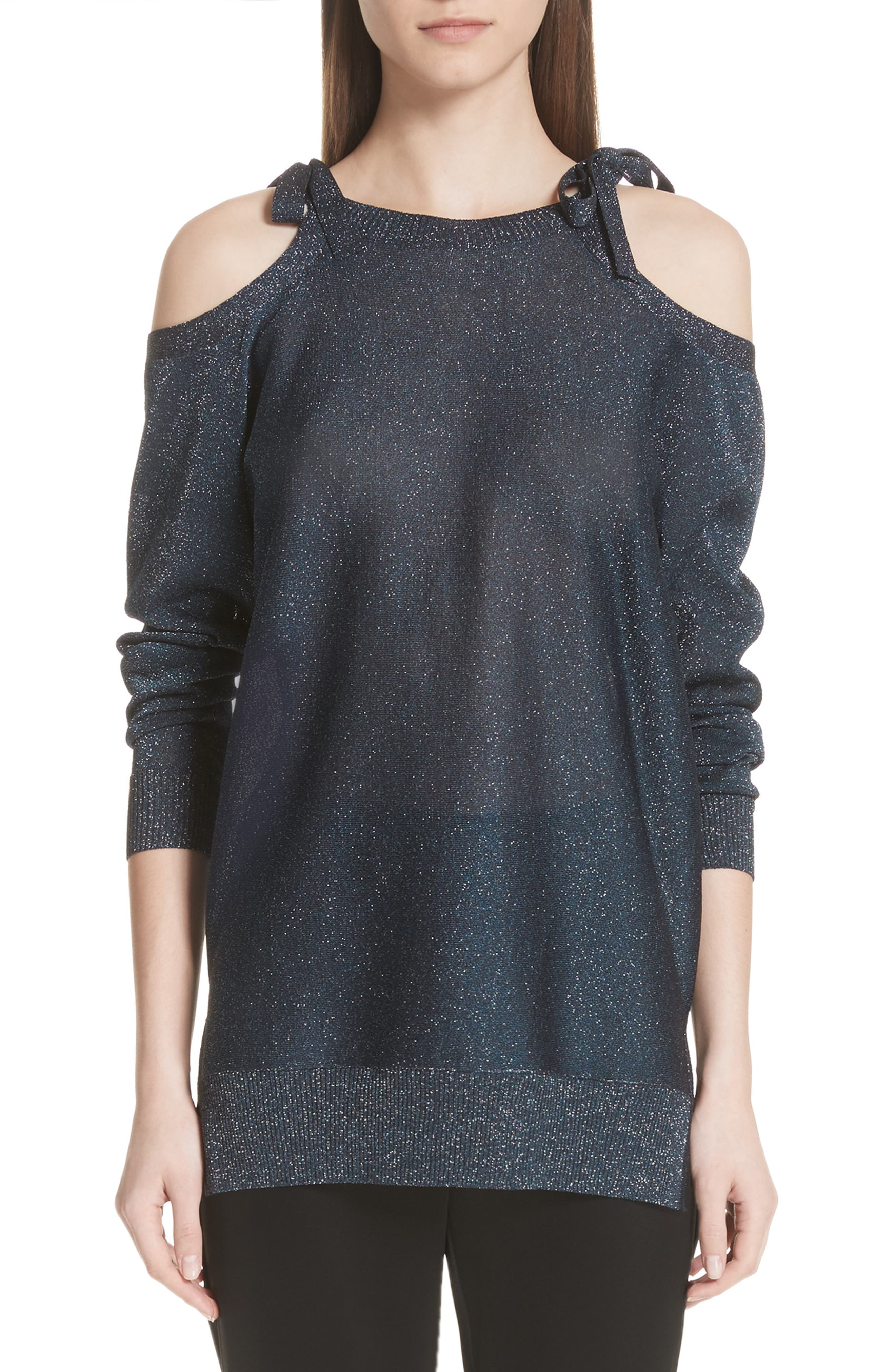 Glitter Jersey Knit Cold Shoulder Sweater by St. John Collection
