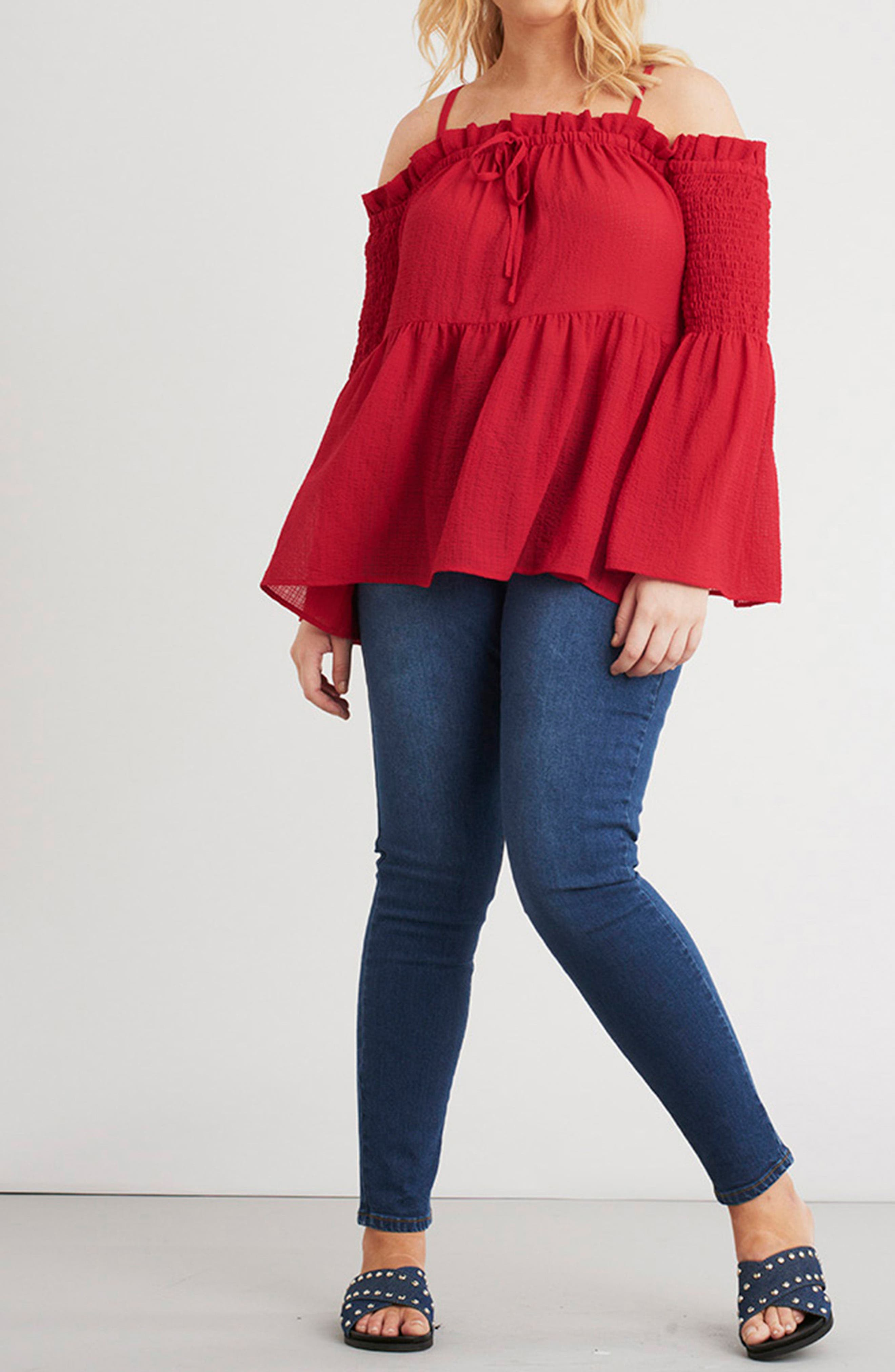 Off the Shoulder Textured Top,                             Alternate thumbnail 7, color,                             Red