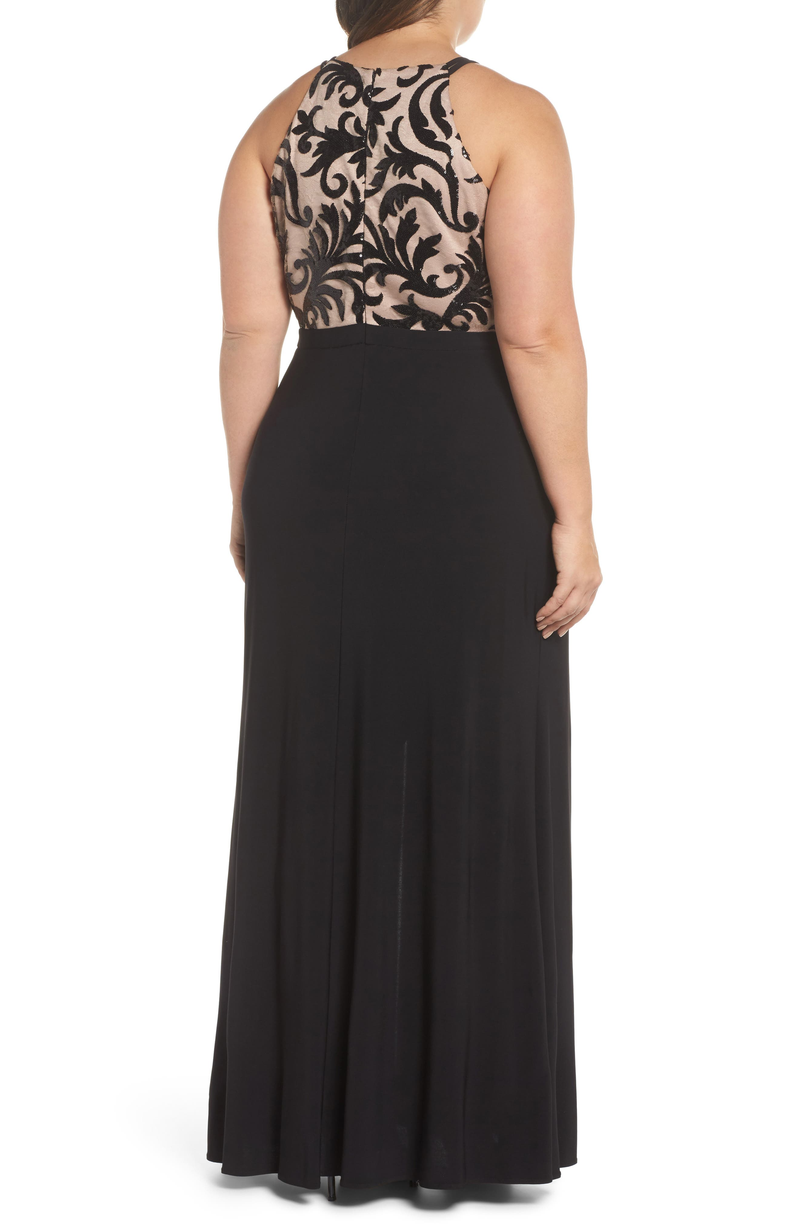 Sequin Bodice Gown,                             Alternate thumbnail 2, color,                             Black/ Nude
