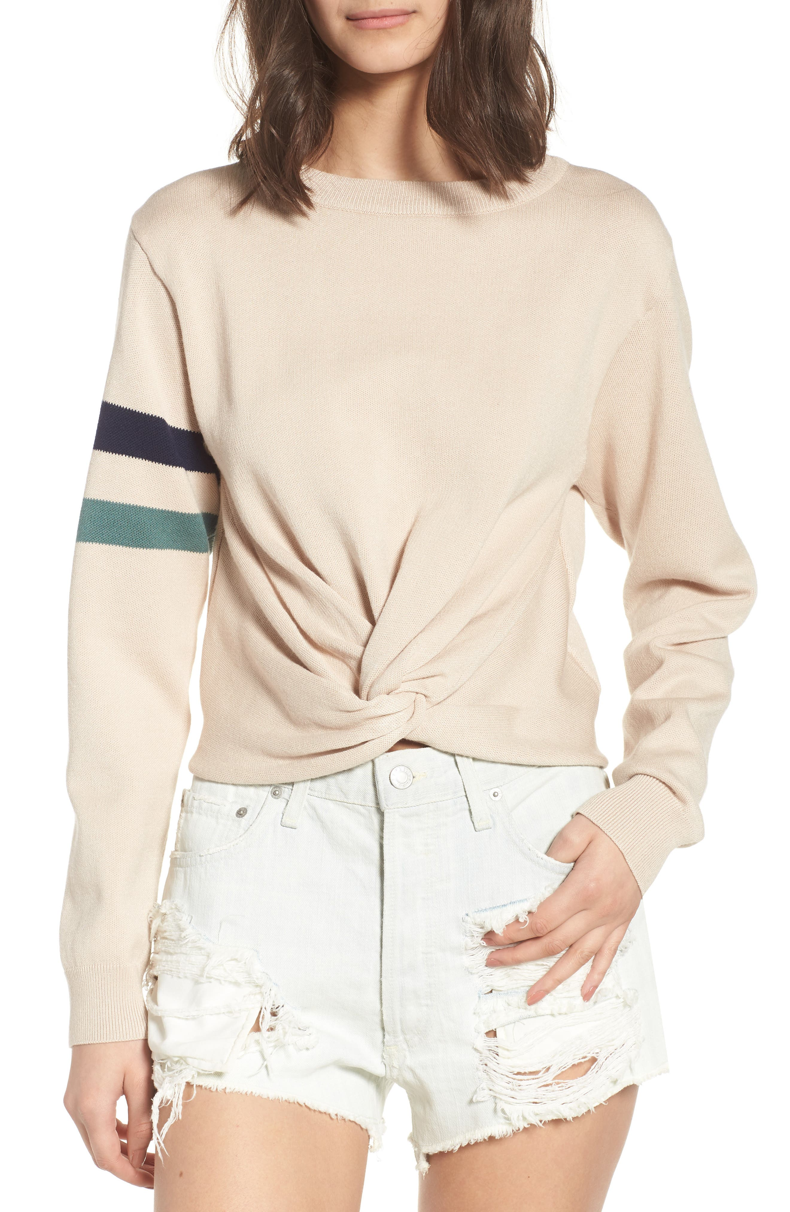 Twist Front Stripe Sleeve Sweatshirt,                         Main,                         color, Ivory