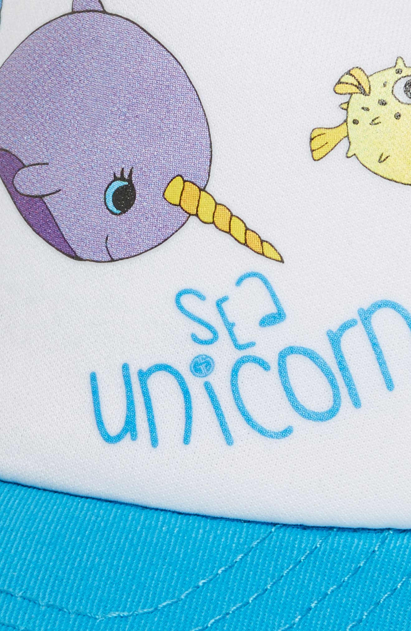 Sea Unicorn Trucker Hat,                             Alternate thumbnail 3, color,                             Teal/ White