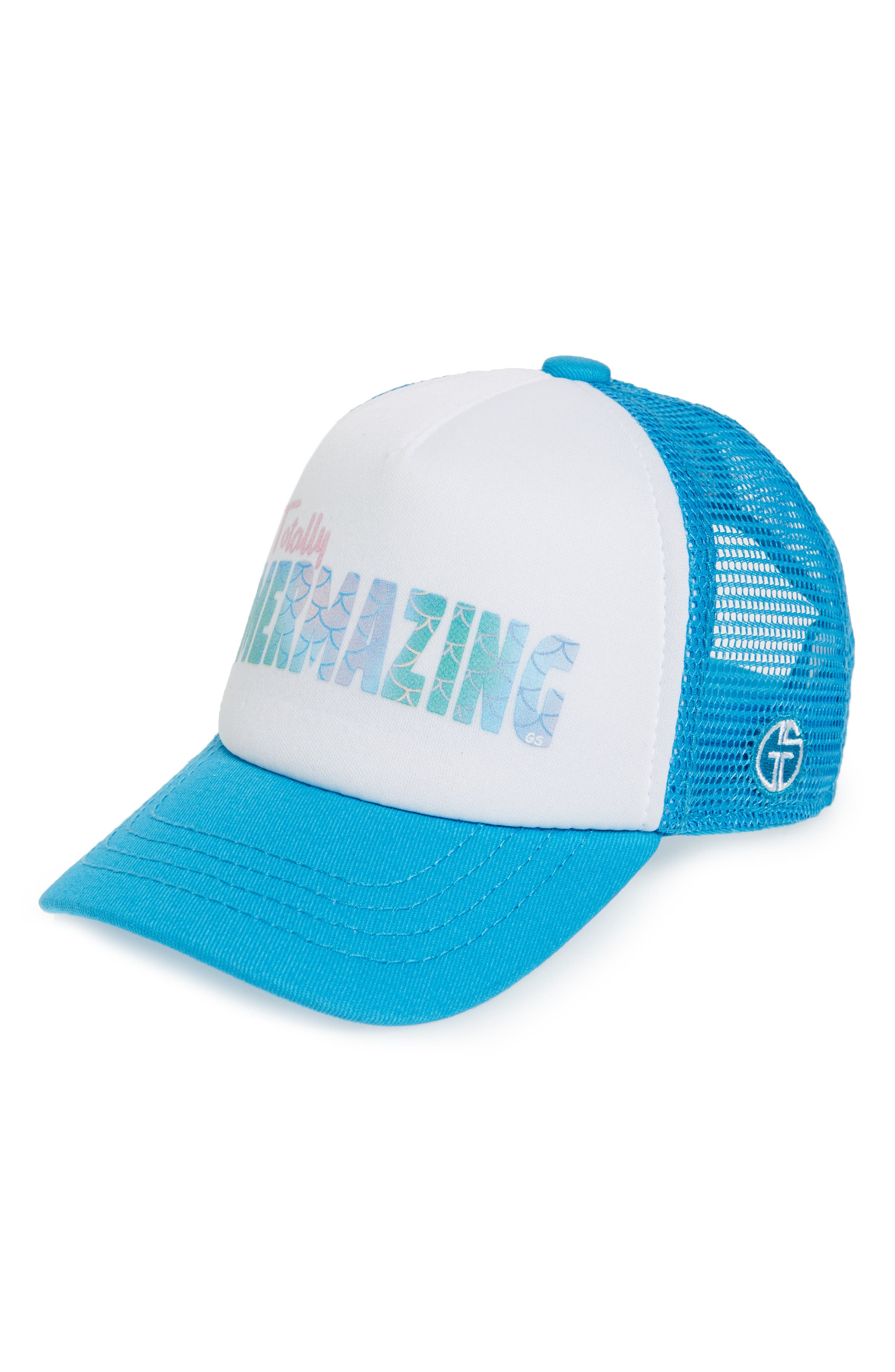 Totally Mermazing Trucker Hat,                             Main thumbnail 1, color,                             Teal/ White