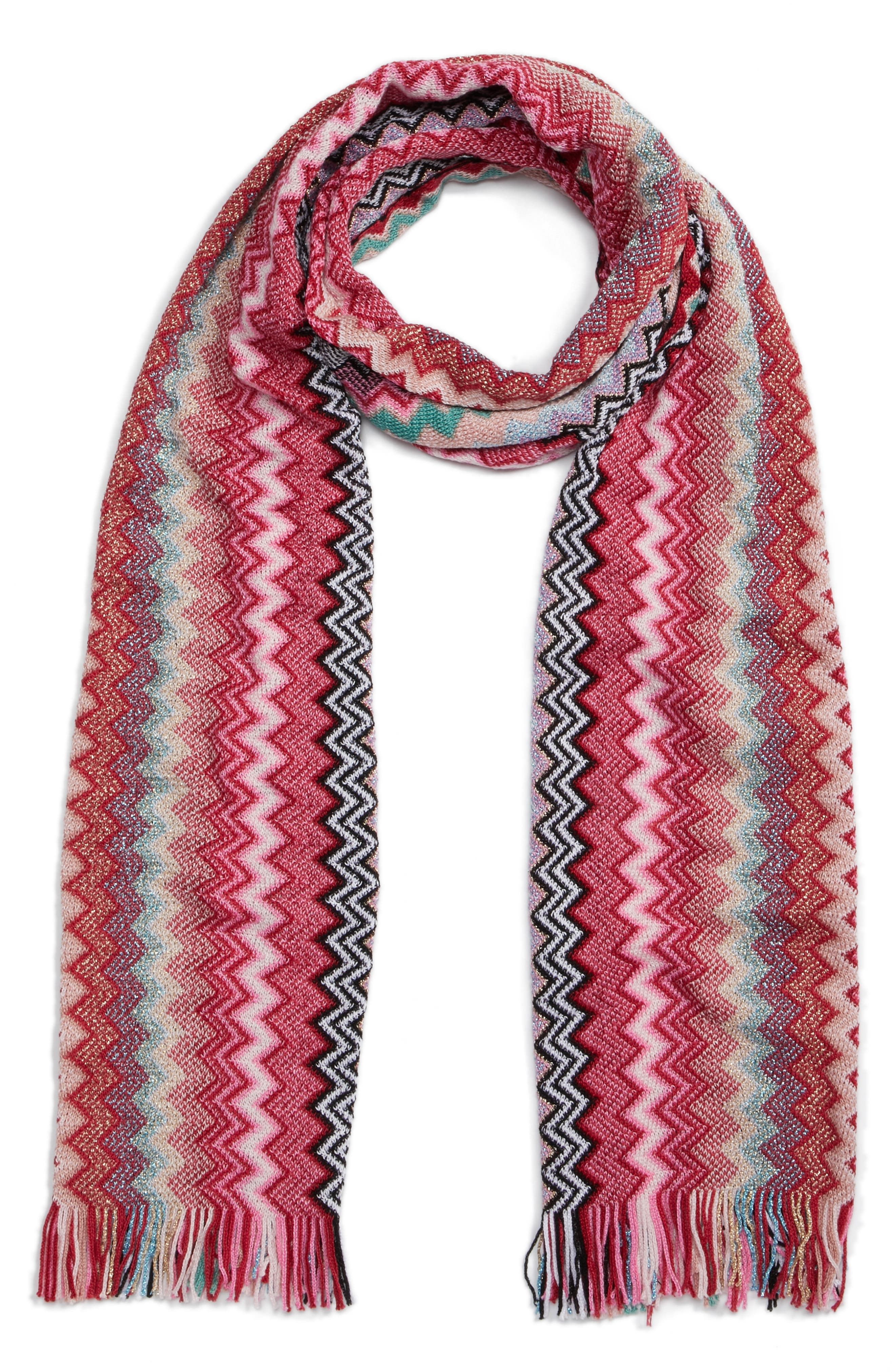 Zigzag Scarf,                             Alternate thumbnail 3, color,                             Pink