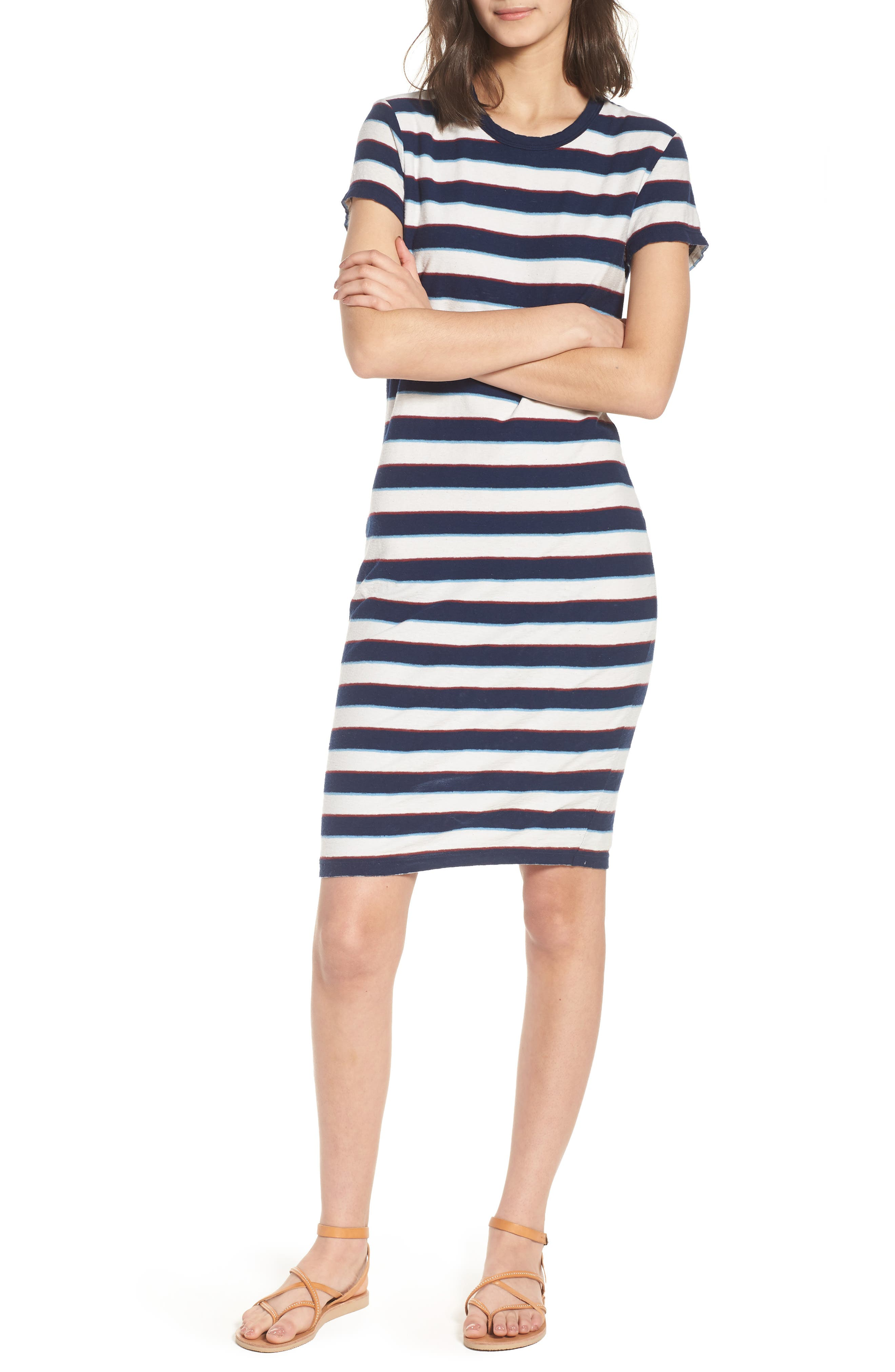 Vintage Stripe T-Shirt Dress,                         Main,                         color, Navy Stripe