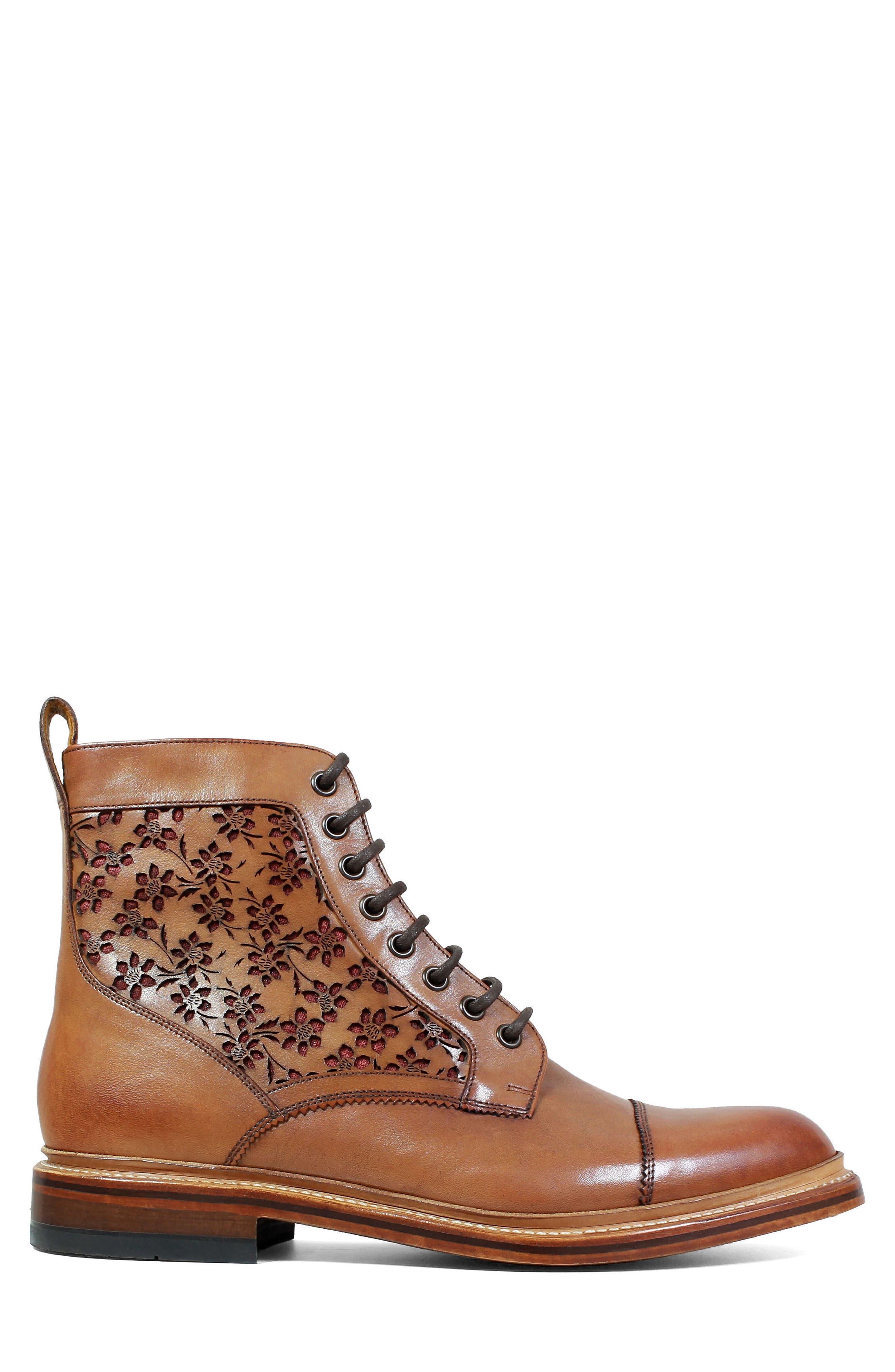 M2 Laser Cut Boot,                             Alternate thumbnail 3, color,                             Cognac Leather
