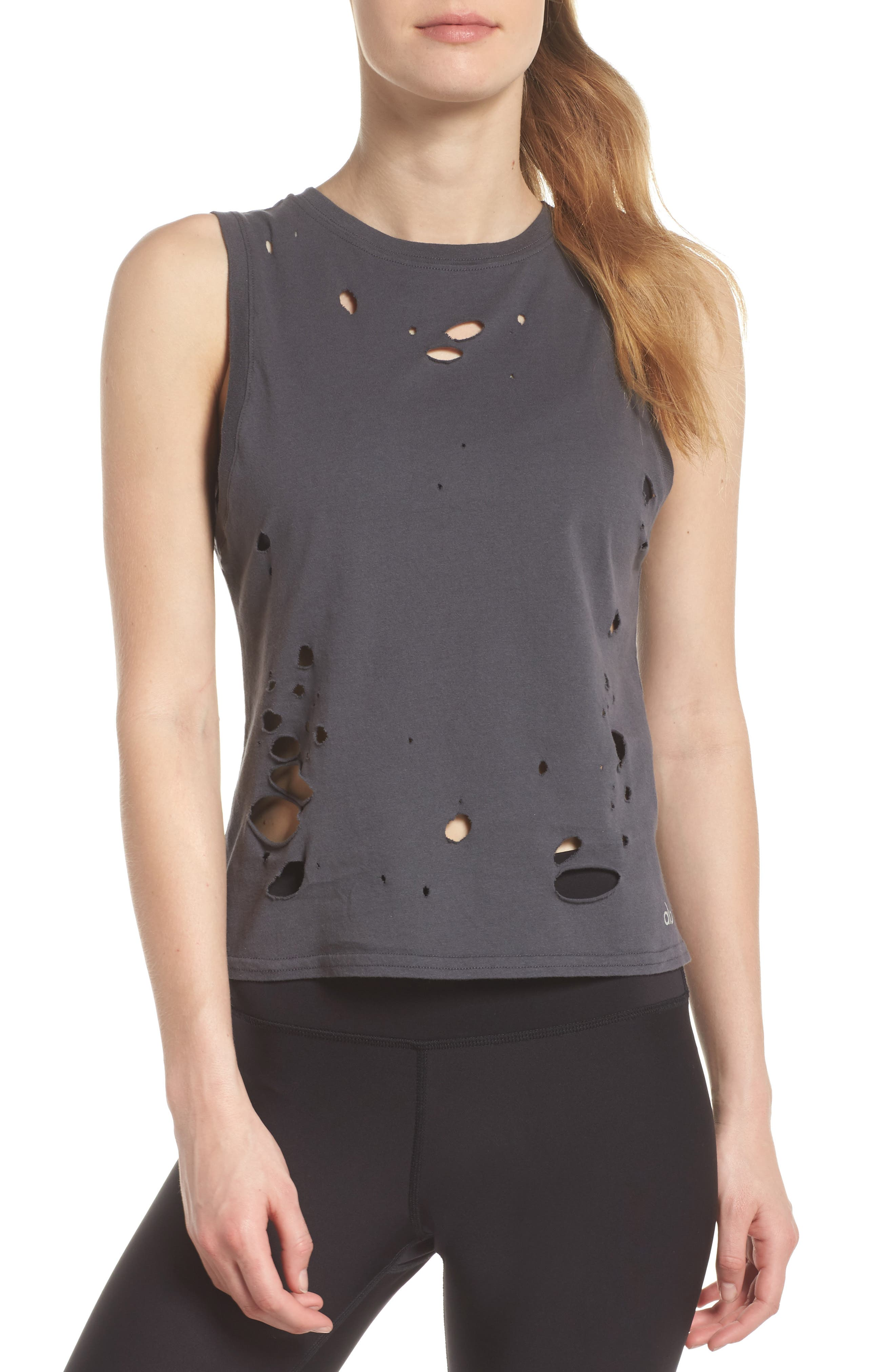 Harley Muscle Tank,                             Main thumbnail 1, color,                             Anthracite/ Distressed Holes