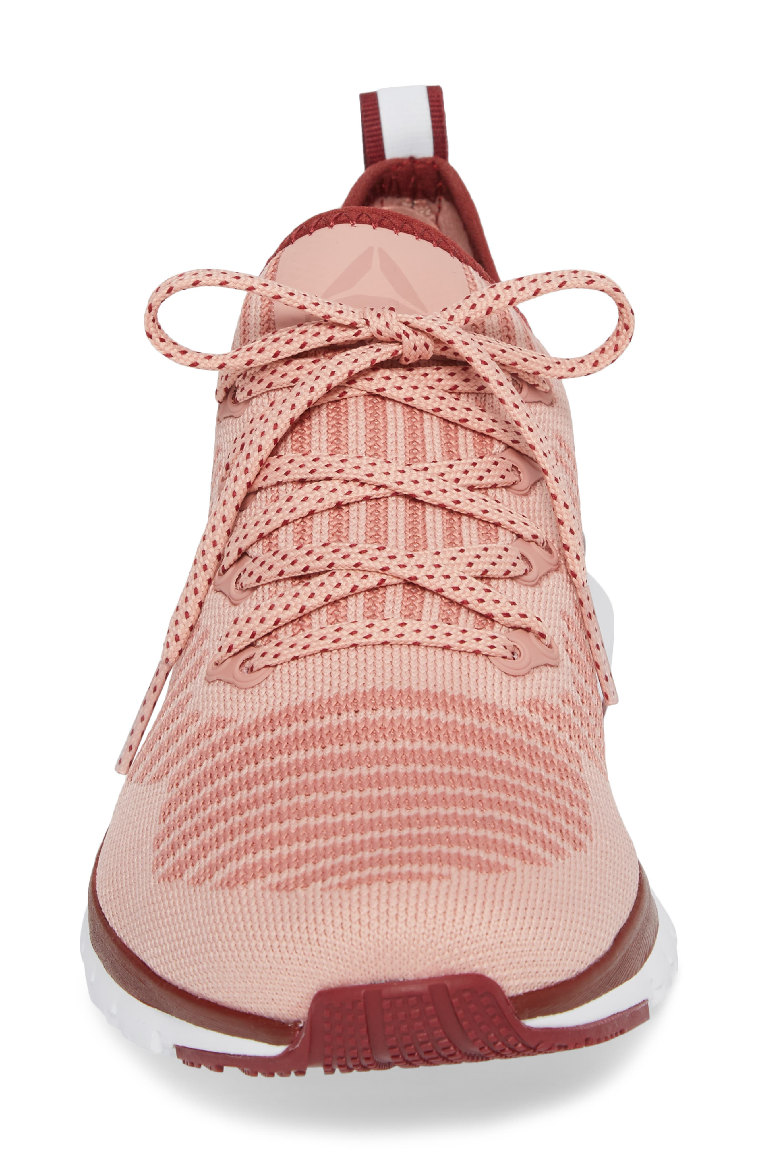 Print Run Smooth Ultra Knit Running Shoe,                             Alternate thumbnail 4, color,                             Chalk Pink/ Urban Maroon