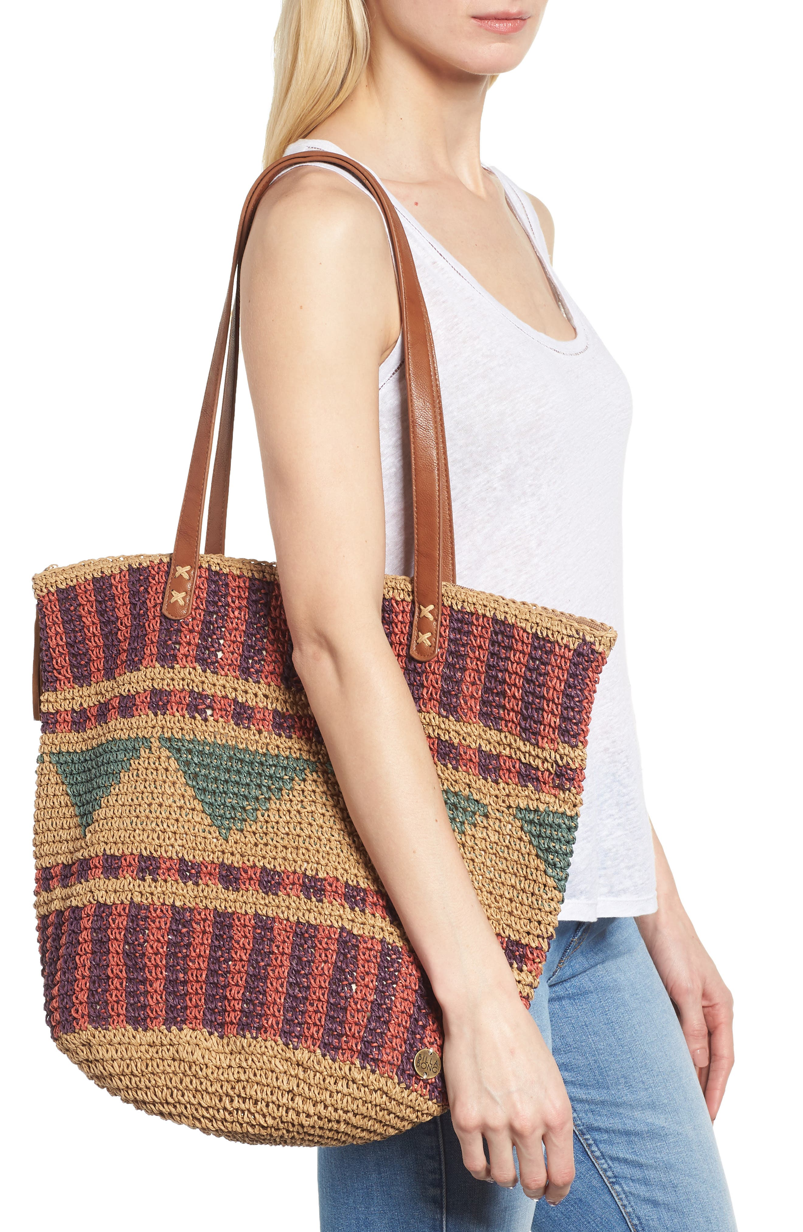 East of Dover Print Straw Tote,                             Alternate thumbnail 2, color,                             Rosewater