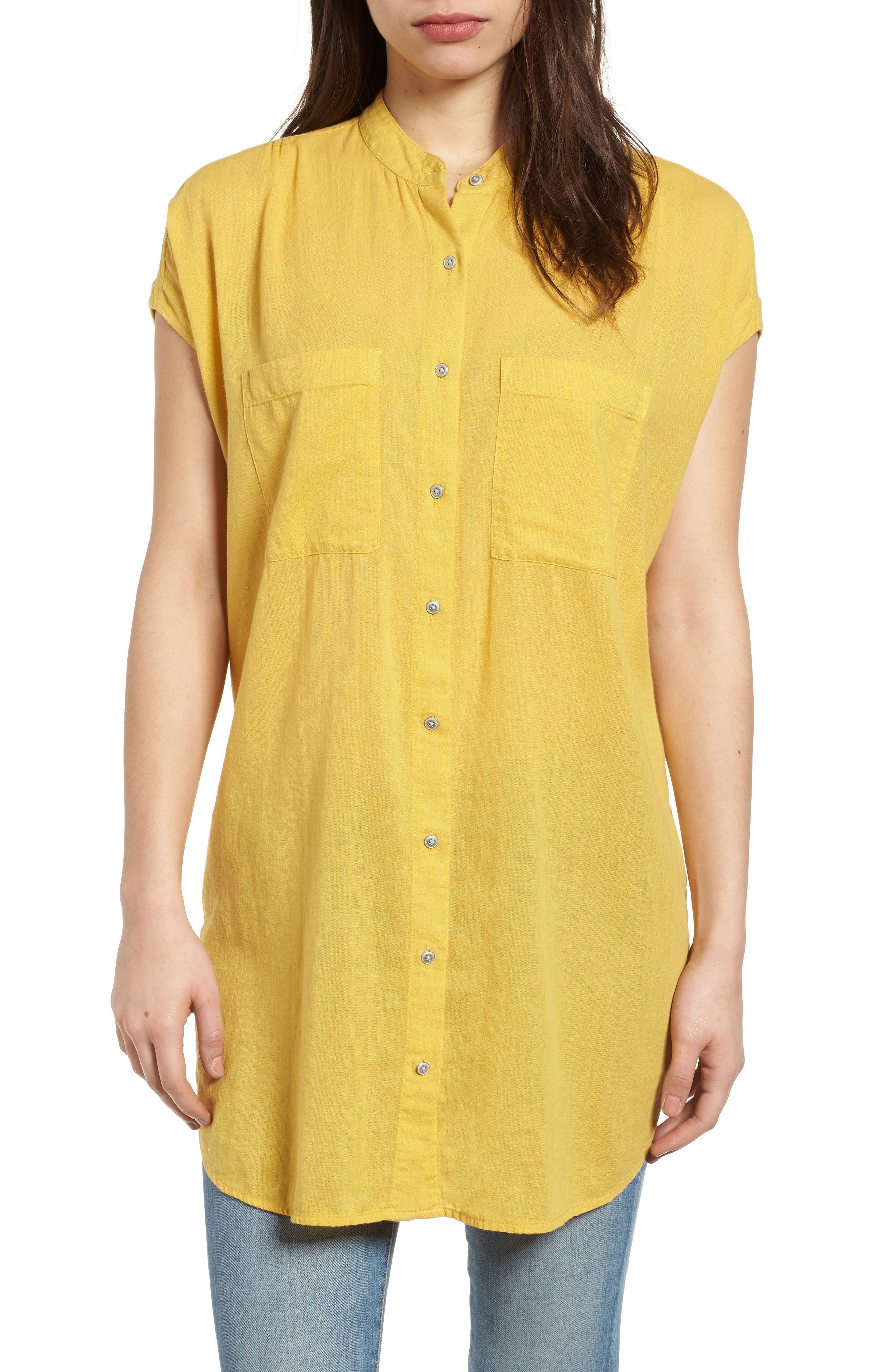 Caslon® Button Front Longline Top (Regular & Petite)