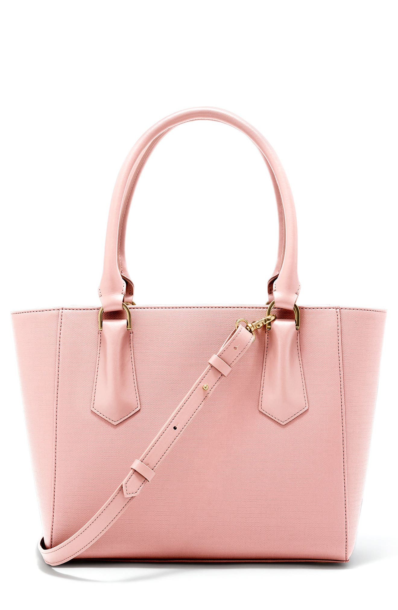 Signature Midi Coated Canvas Tote - Pink, Lychee