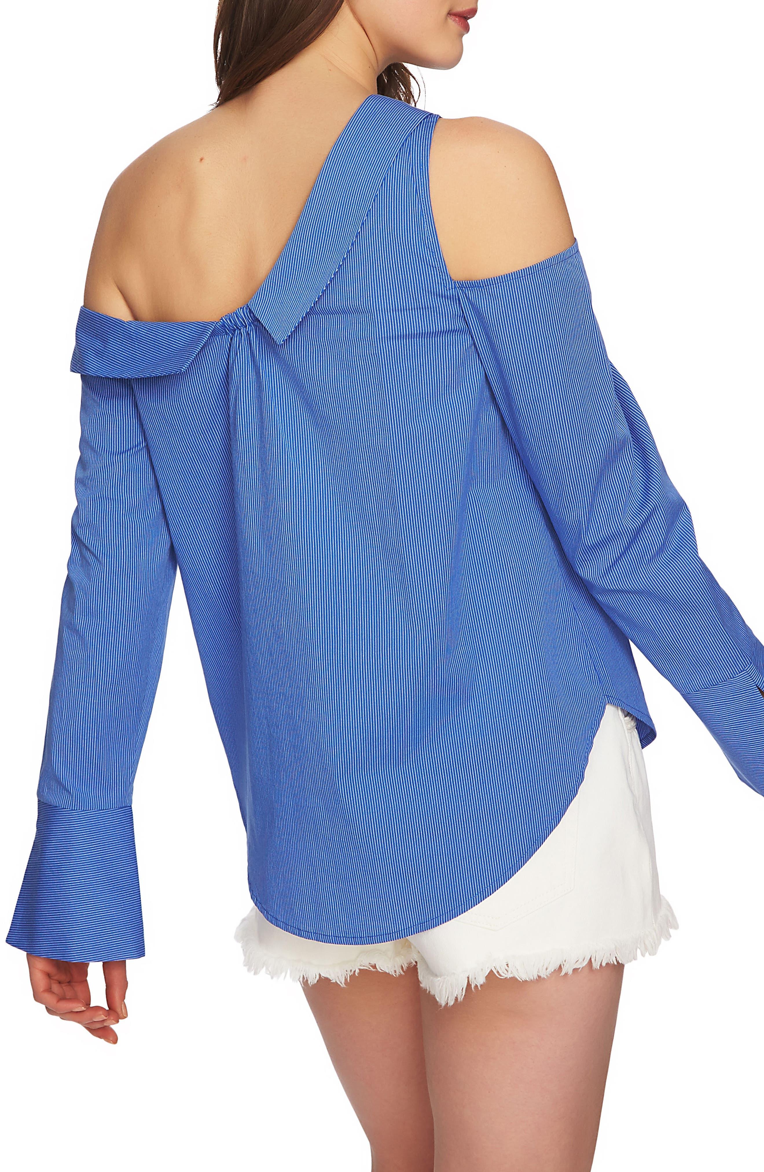 Mixed Stripe One-Shoulder Top,                             Alternate thumbnail 2, color,                             771-Blue Bonnet
