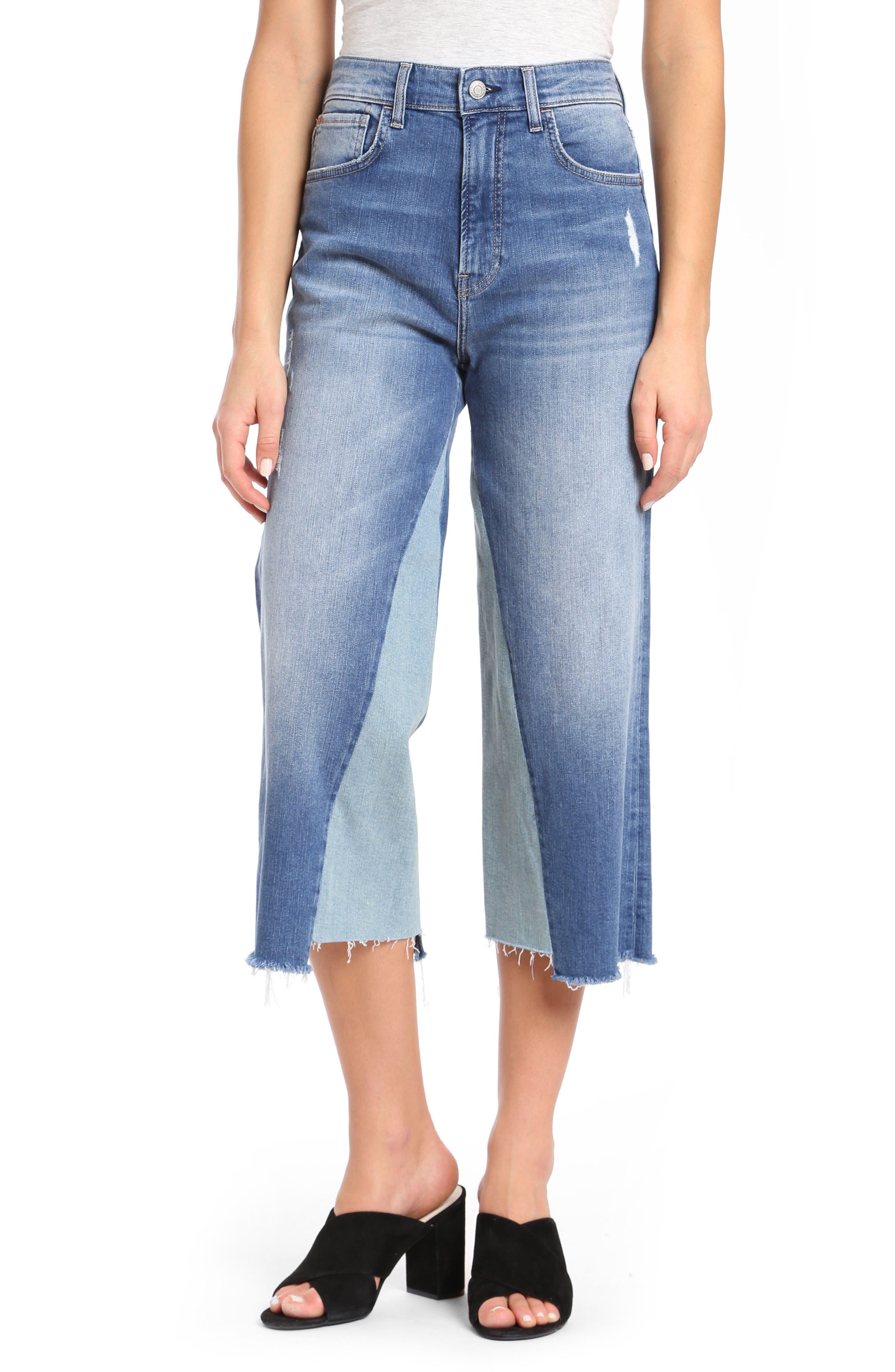 Elliott Wide Leg Contrast Jeans,                             Main thumbnail 1, color,                             Mid Shadow