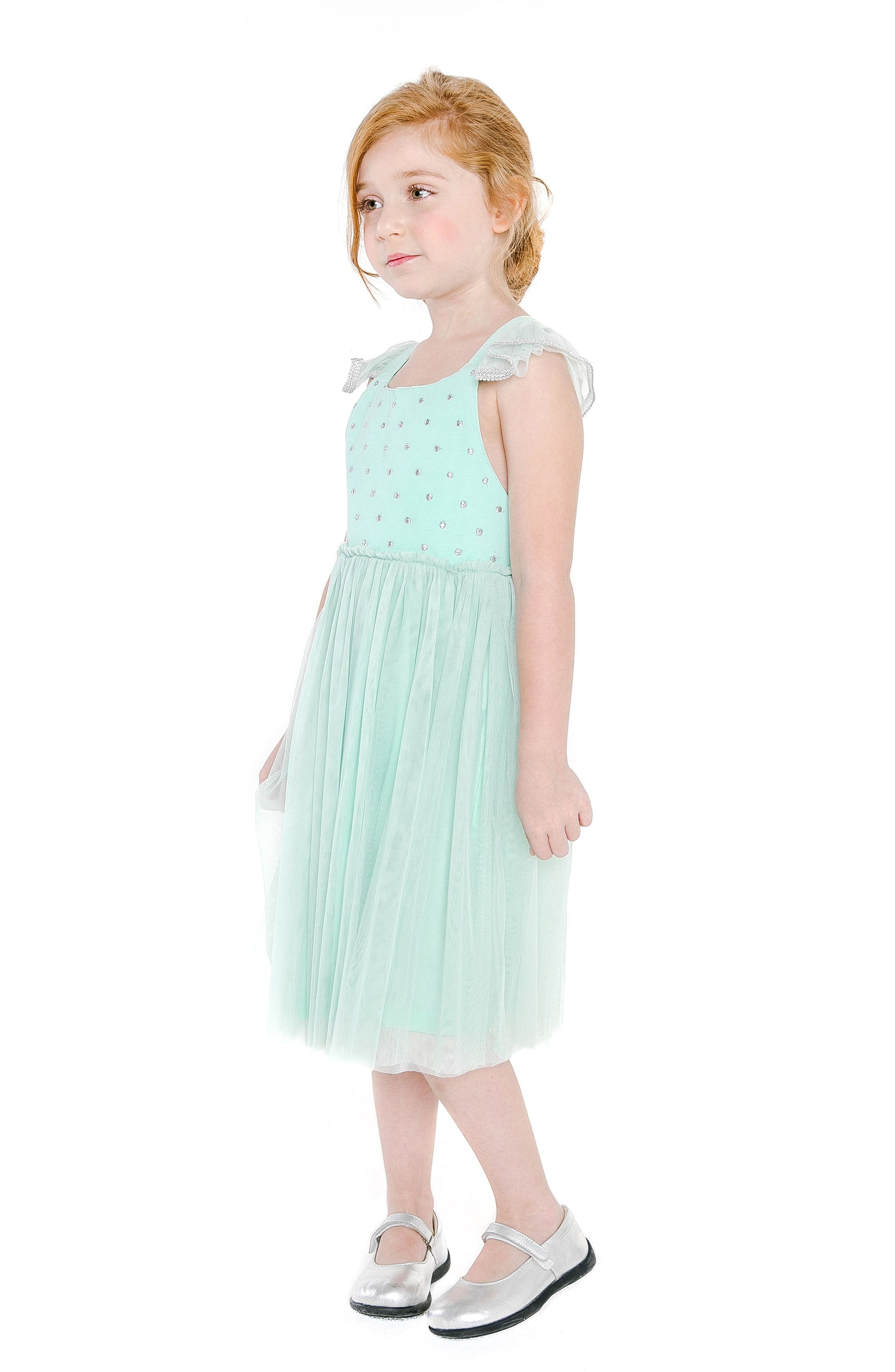 Diya Tulle Sundress,                             Alternate thumbnail 3, color,                             Turquoise