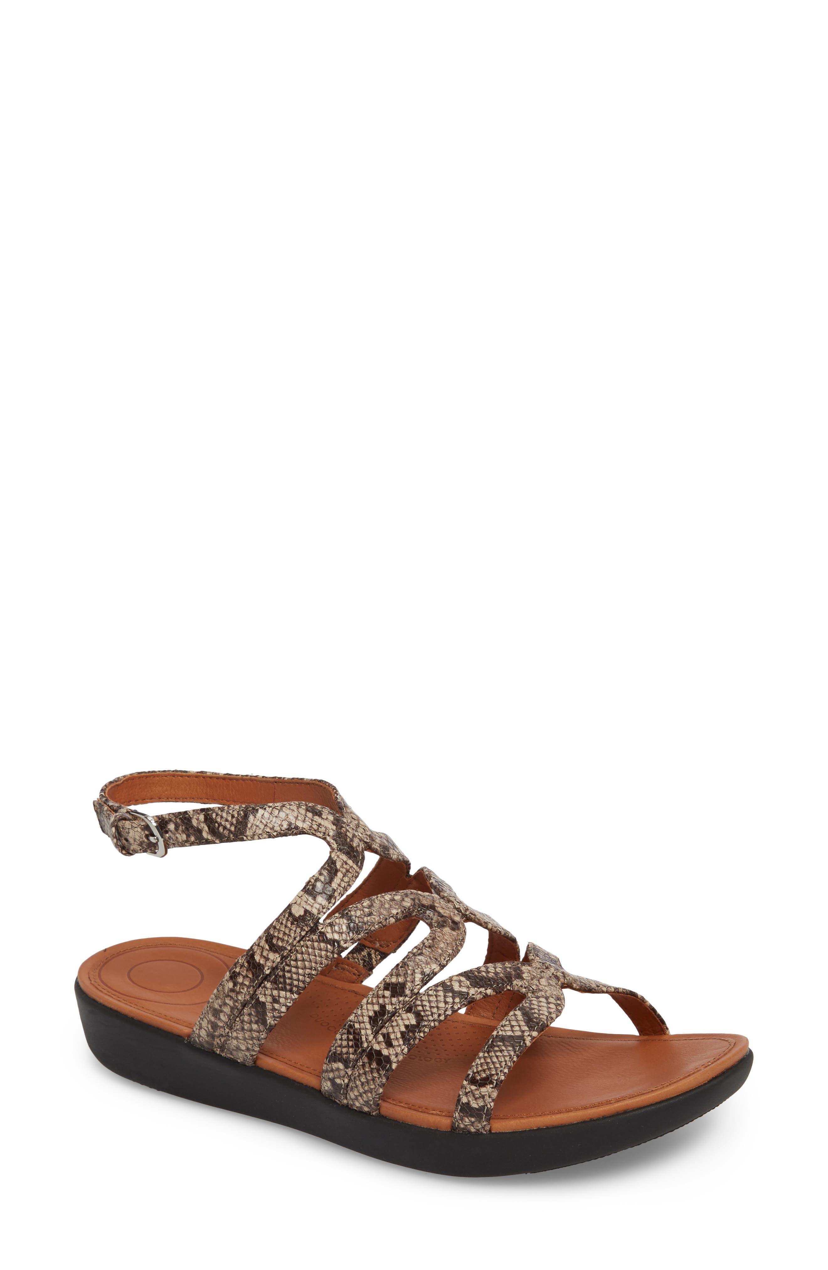 Strata Gladiator Sandal,                             Main thumbnail 1, color,                             Taupe Snake Print Leather