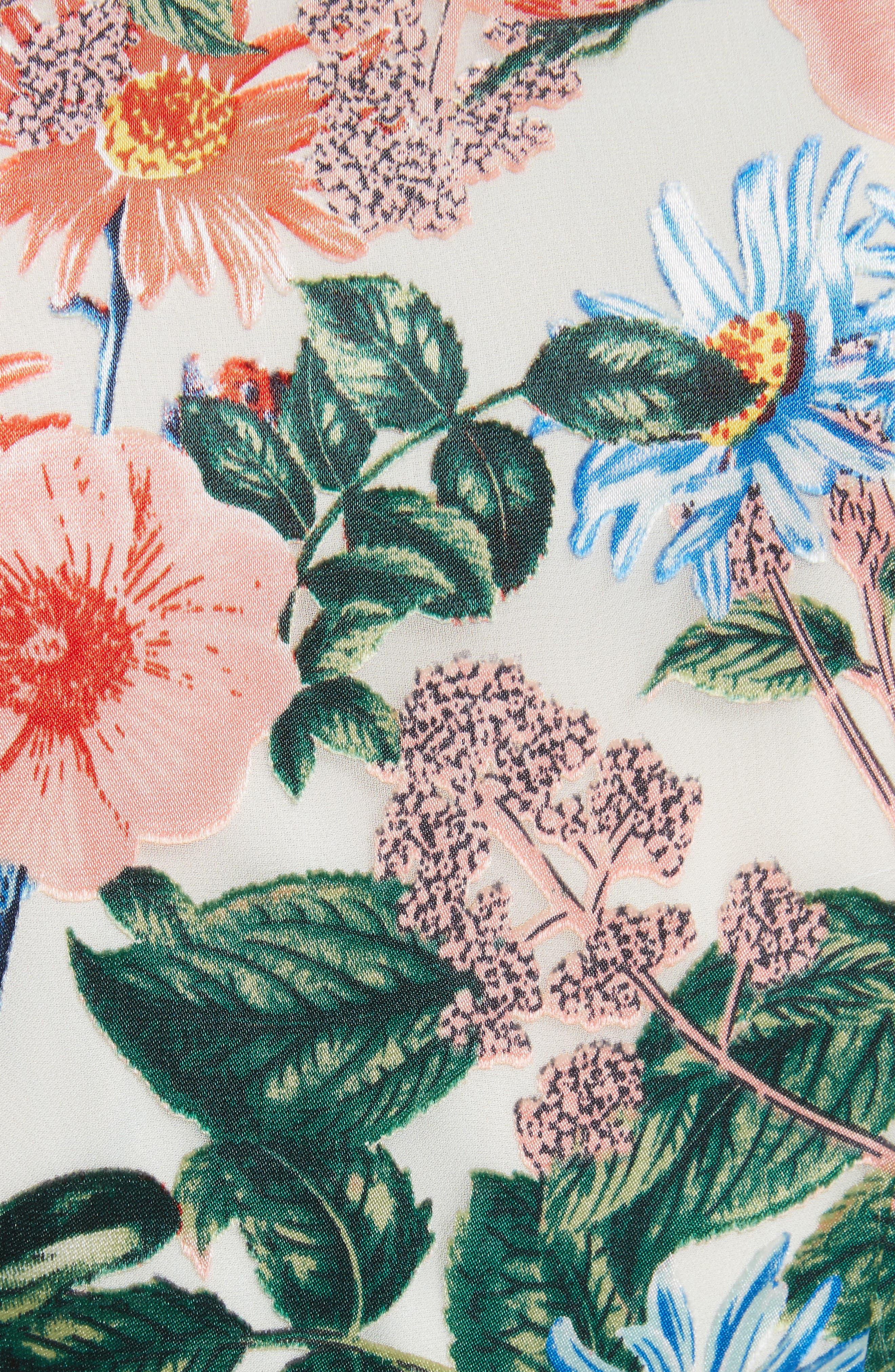 Garnet Floral Wrap Dress,                             Alternate thumbnail 5, color,                             Floral Fields