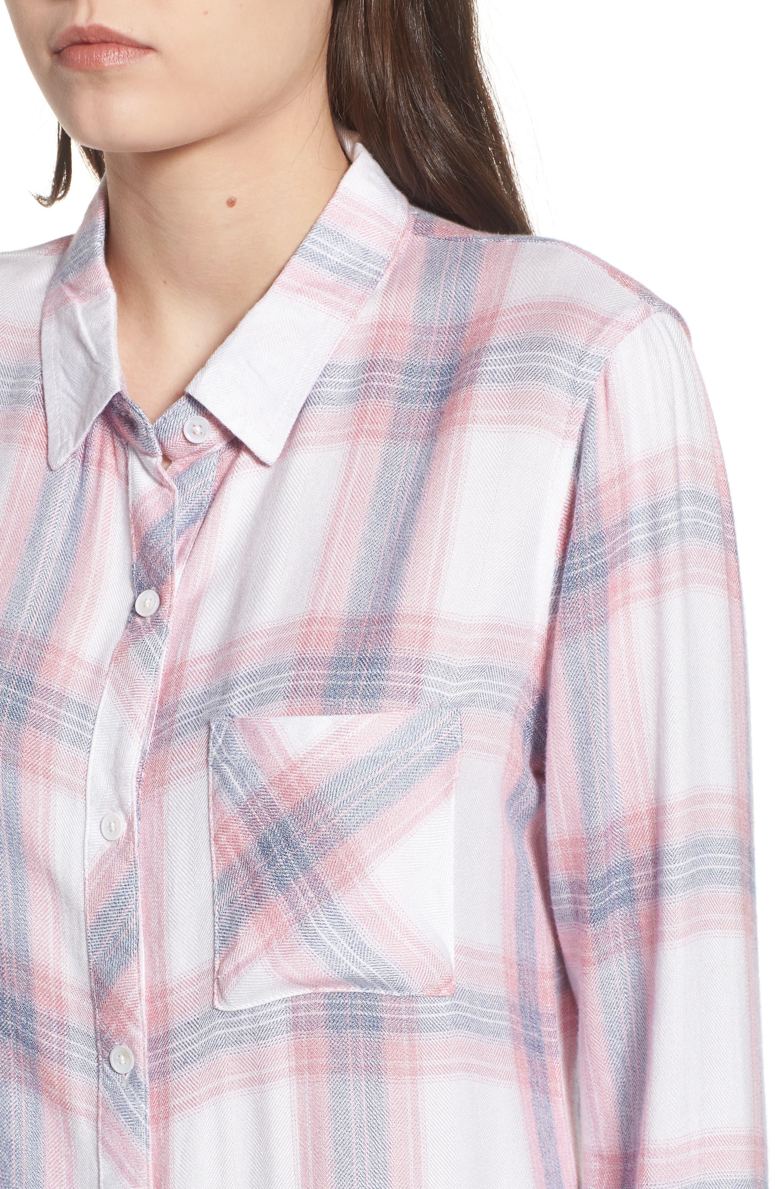 Carina Plaid Shirt,                             Alternate thumbnail 4, color,                             Red/ White Plaid