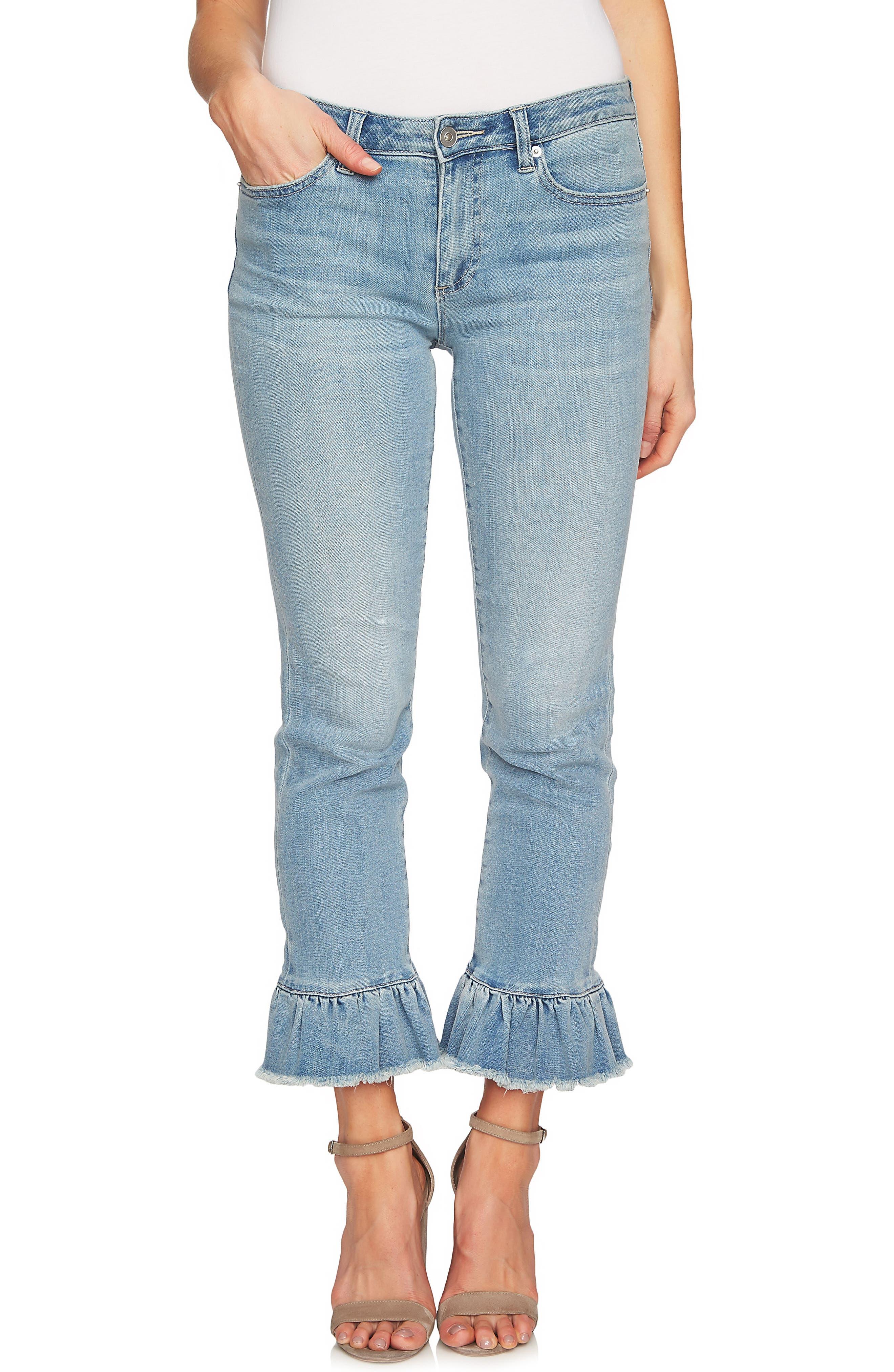 Ruffle Hem Ankle Jeans,                             Main thumbnail 1, color,                             Sun Washed Blue