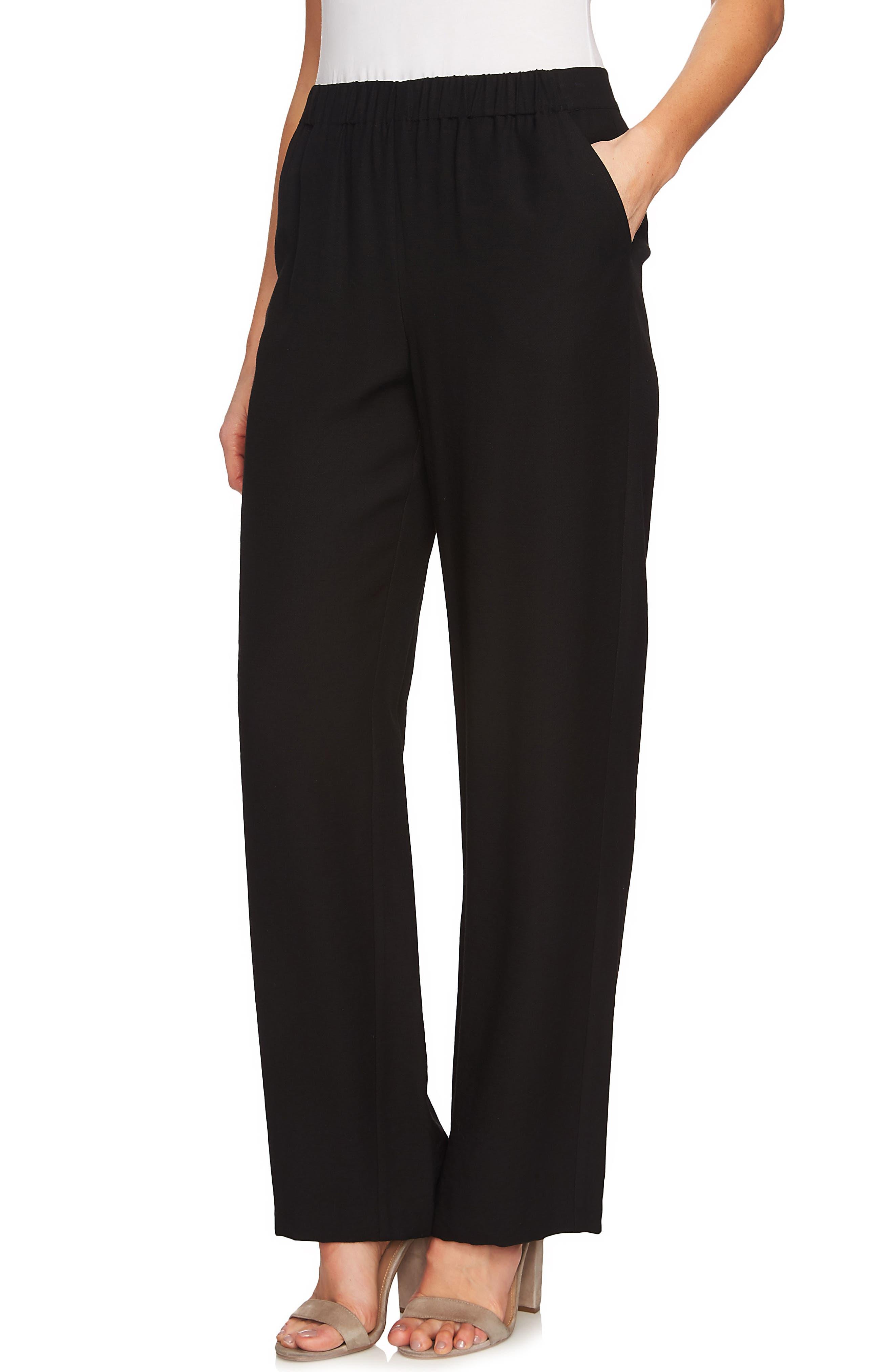 Wide Leg Soft Pants,                             Main thumbnail 1, color,                             Rich Black