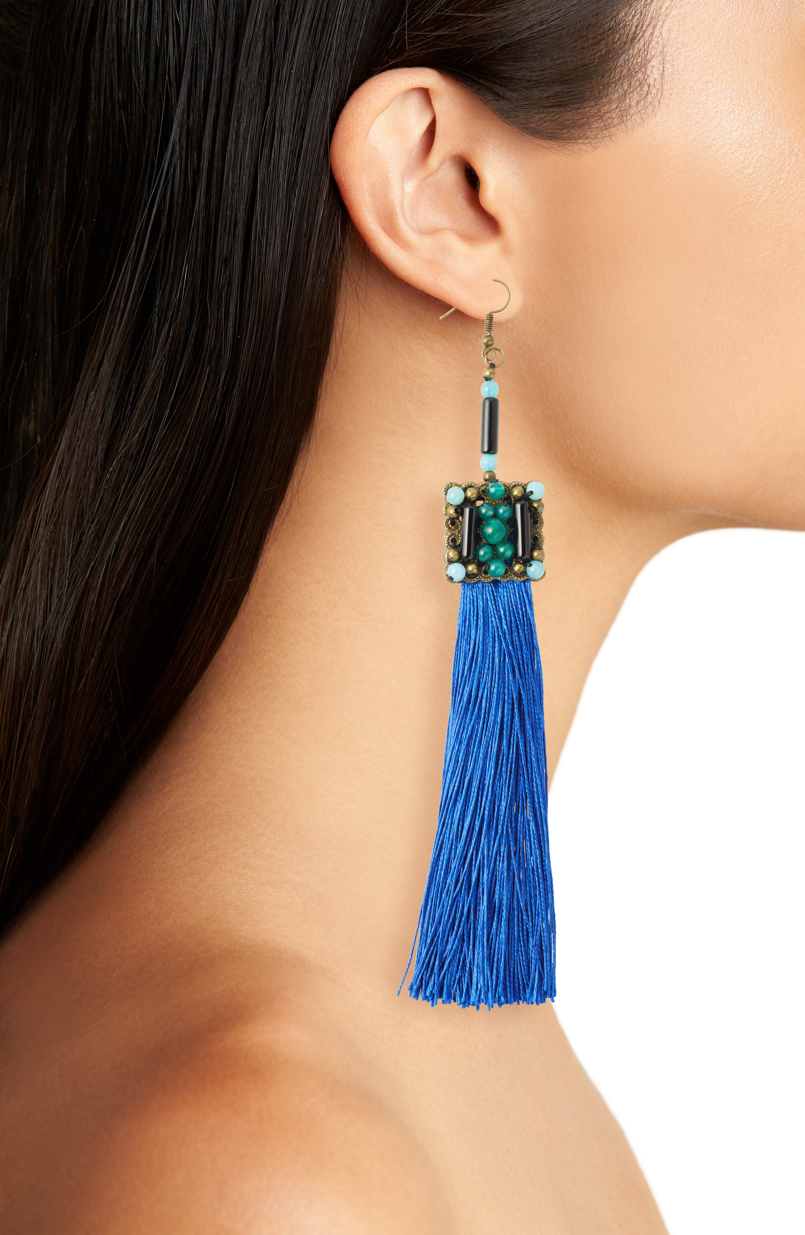 Blue Lagoon Jade Tassel Earrings,                             Alternate thumbnail 2, color,                             Blue