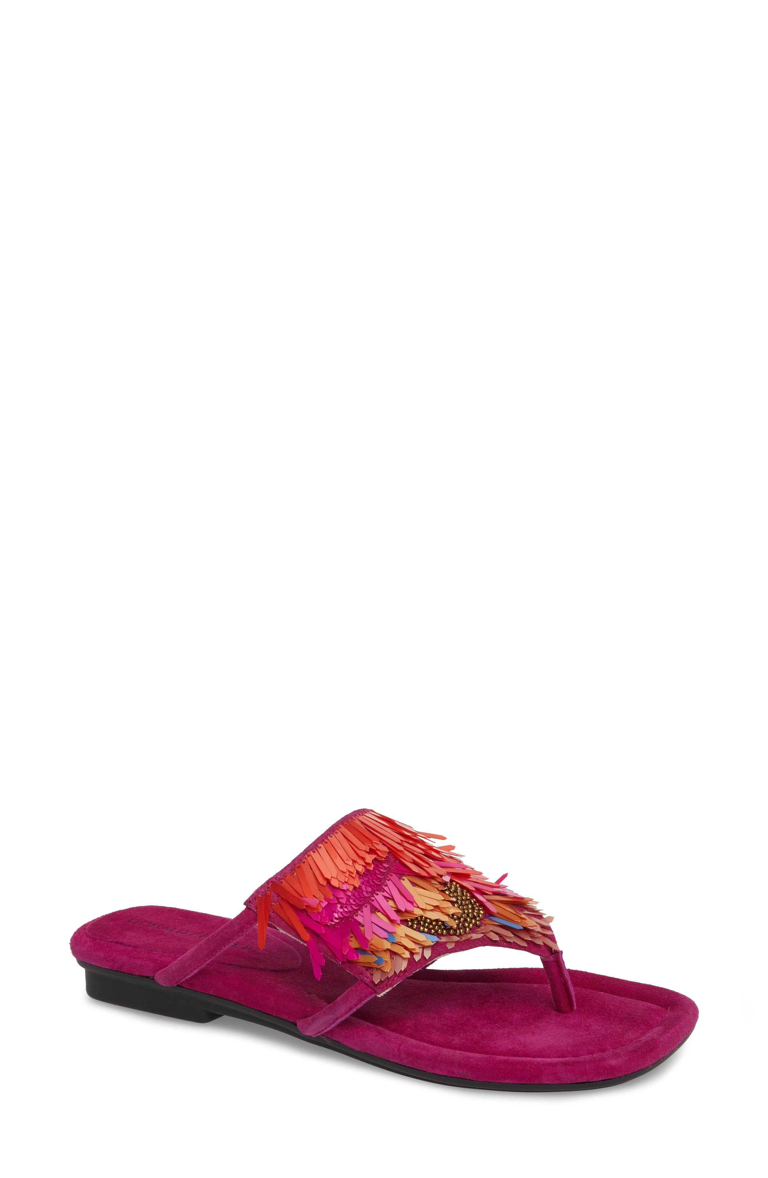 Kya Feather Sequin Sandal,                         Main,                         color, Magenta Leather