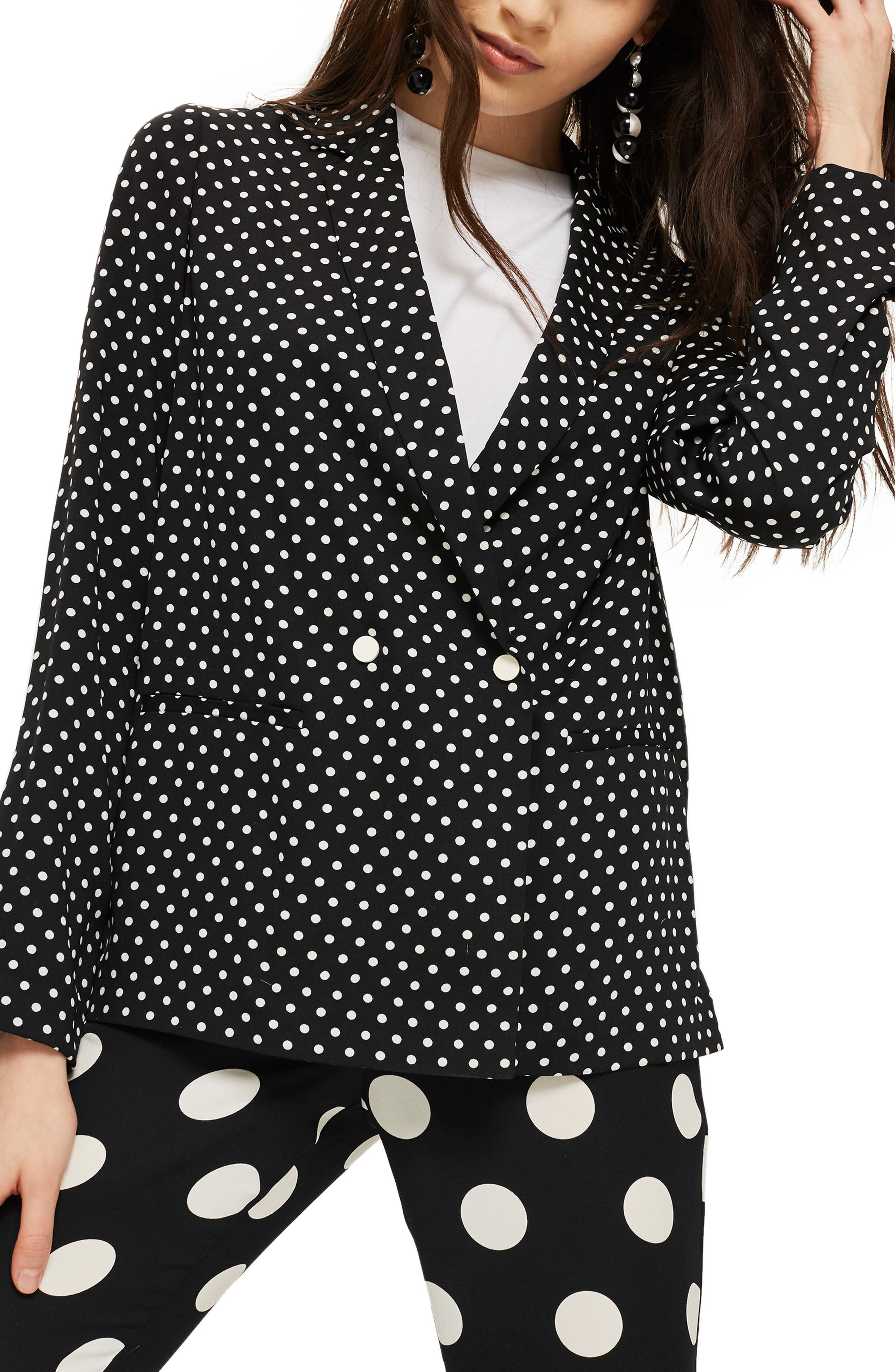 Ava Double Breasted Jacket,                         Main,                         color, Black Multi