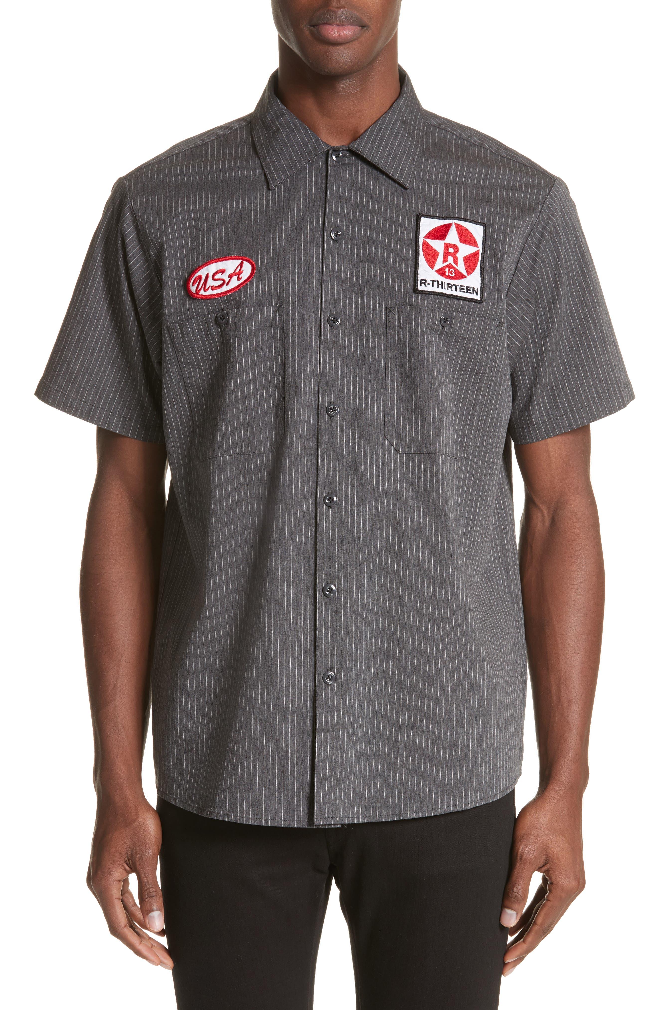 Mechanice Short Sleeve Woven Shirt,                             Main thumbnail 1, color,                             Charcoal Pinstripe