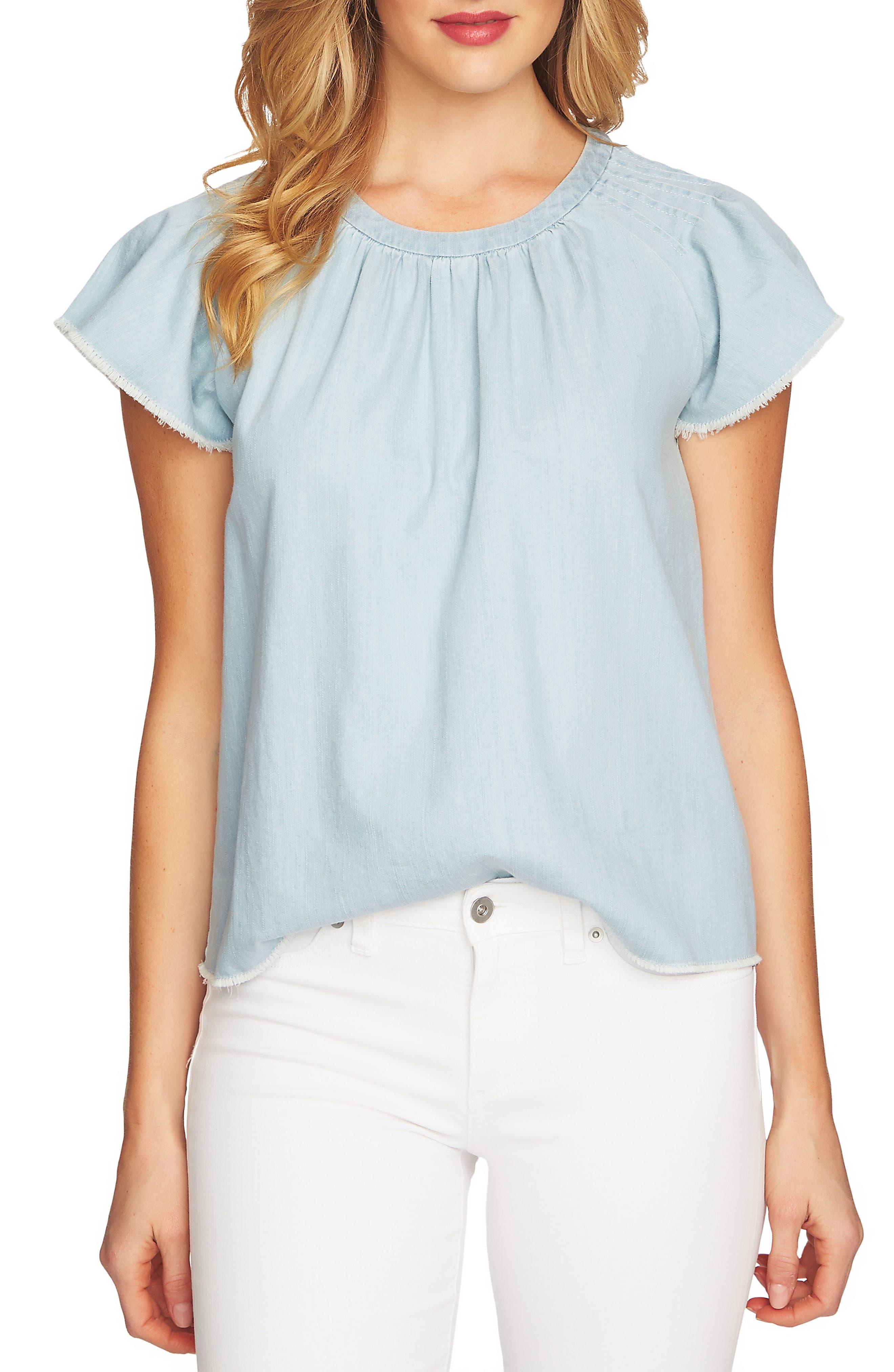 Flutter Sleeve Serged Edge Cotton Denim Blouse,                         Main,                         color, Ocean Drift