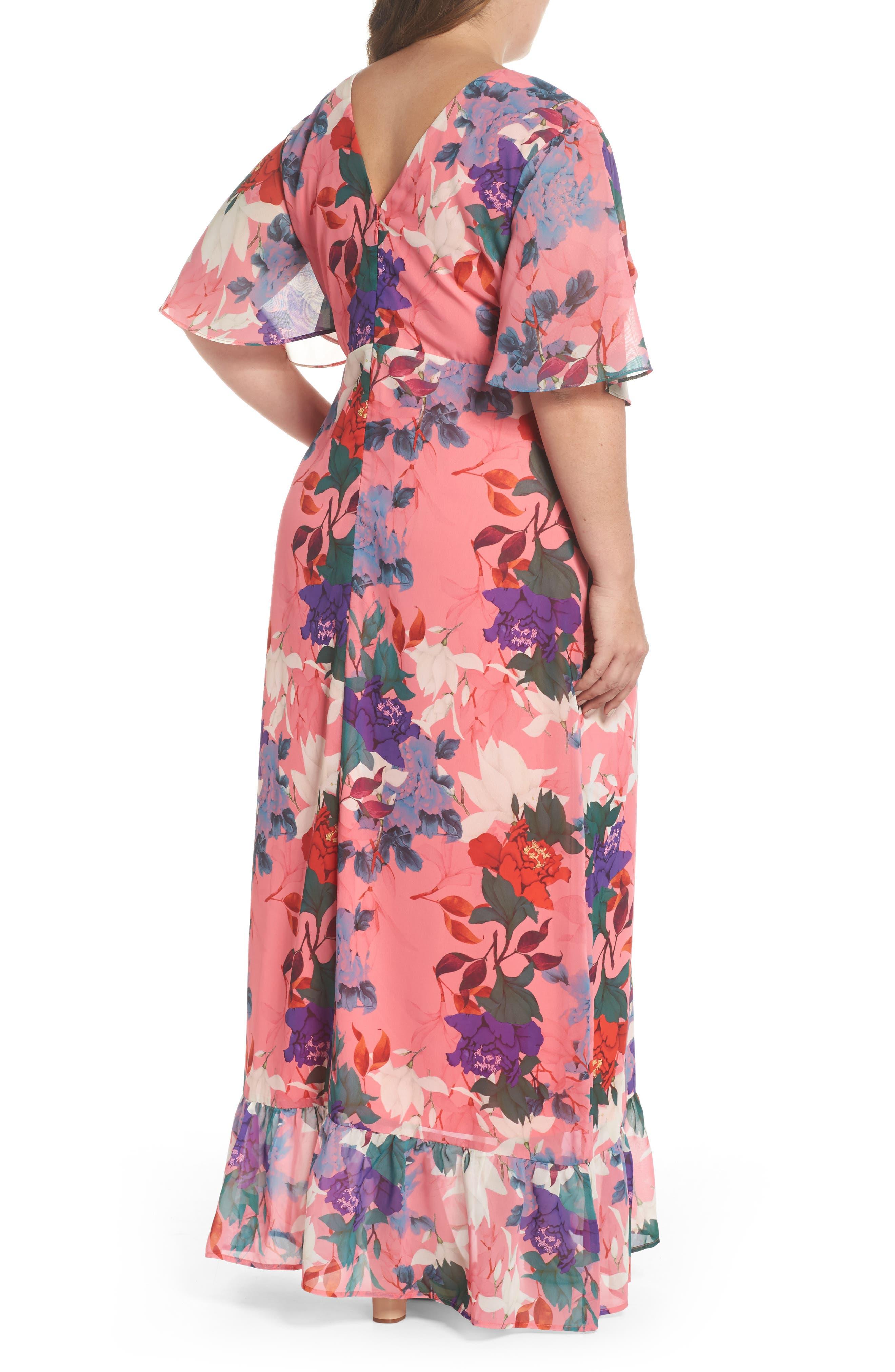 Floral Kimono Maxi Dress,                             Alternate thumbnail 2, color,                             Multi