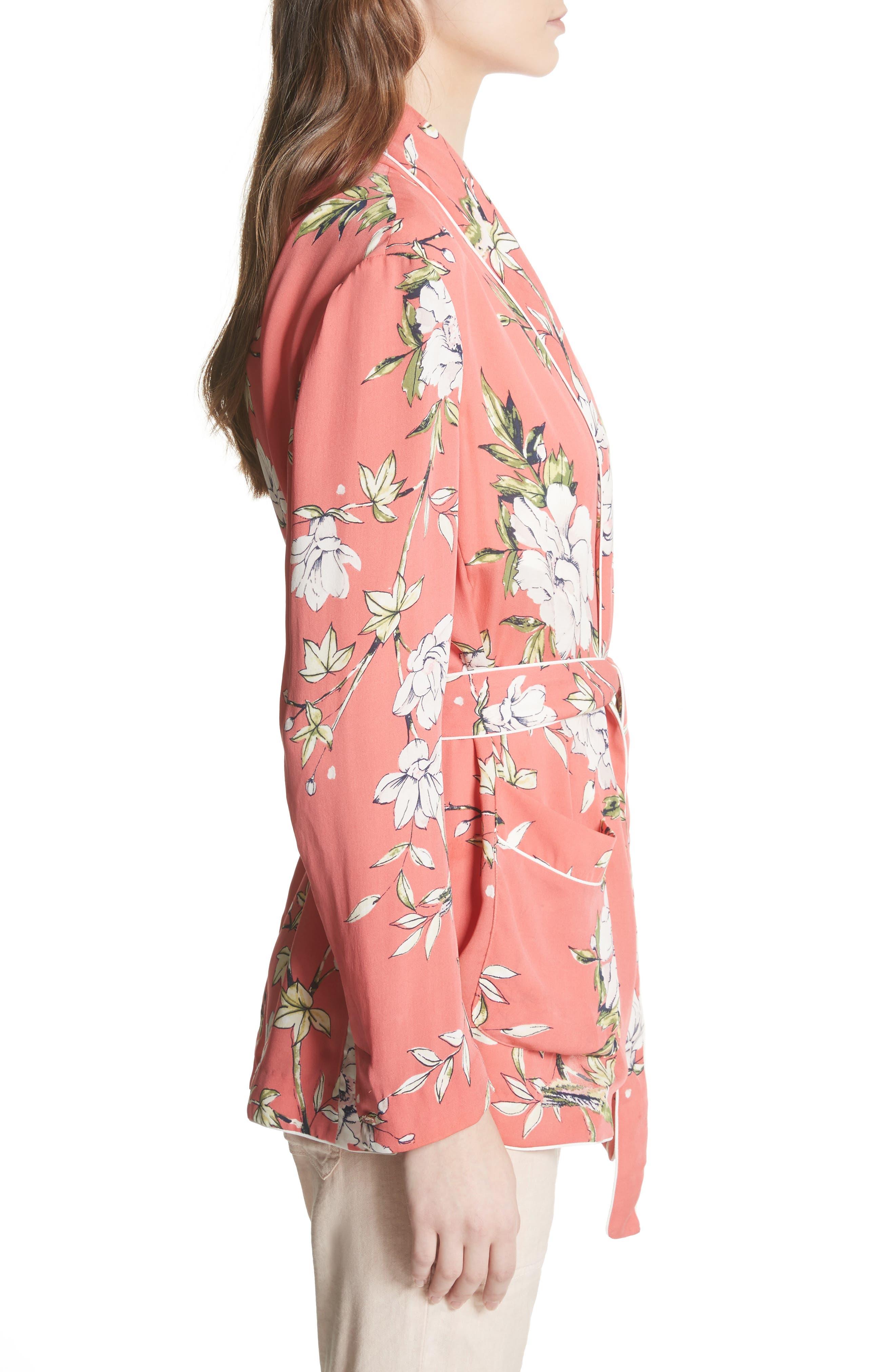 Anasophia Tie Silk Blazer,                             Alternate thumbnail 3, color,                             Strawberry