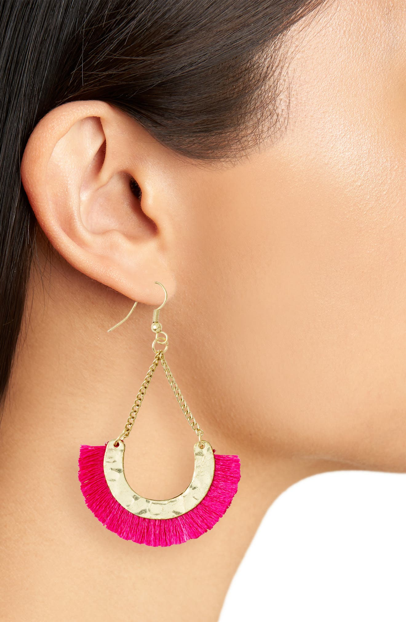 Maldives Fringed Fan Earrings,                             Alternate thumbnail 2, color,                             Fuschia
