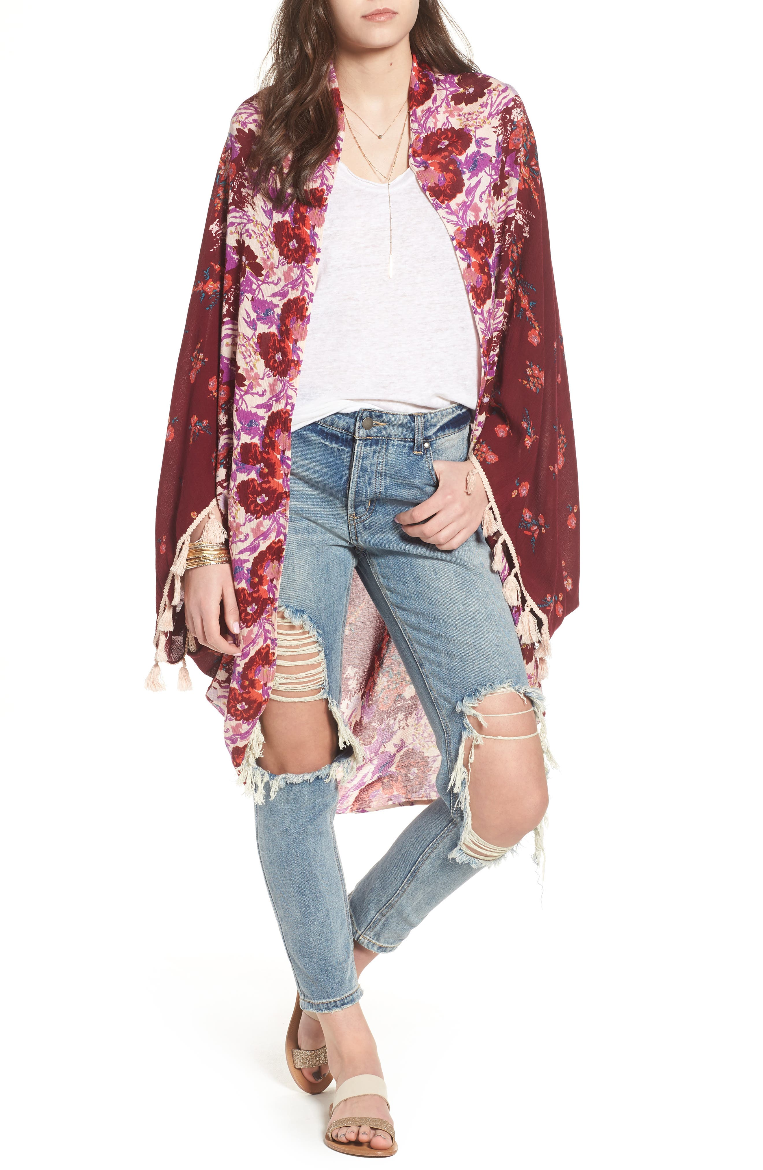 Bali Wrapped In Blooms Shawl,                             Main thumbnail 1, color,                             Red Combo
