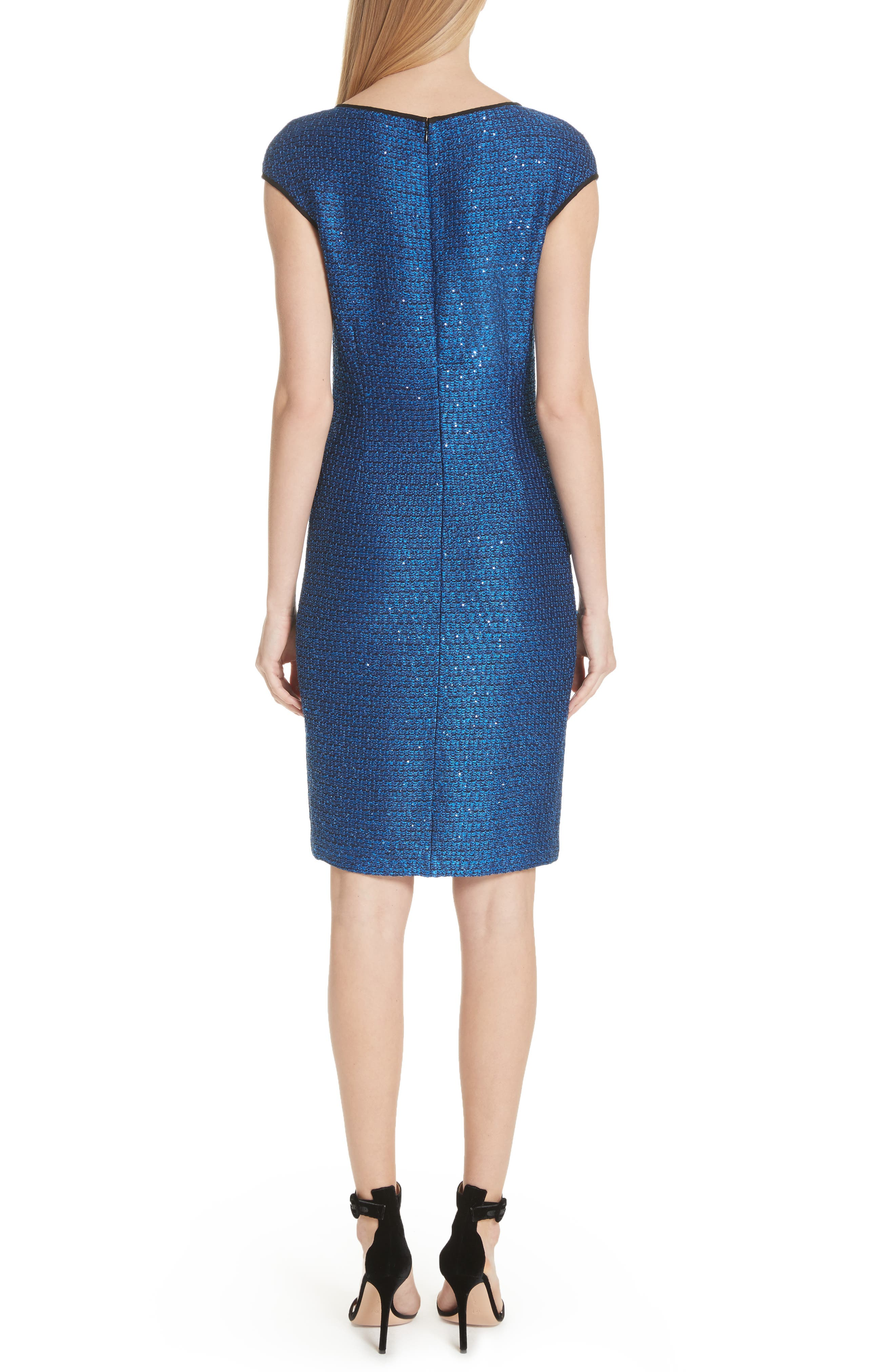 Luster Sequin Knit Dress,                             Alternate thumbnail 2, color,                             Cobalt Multi