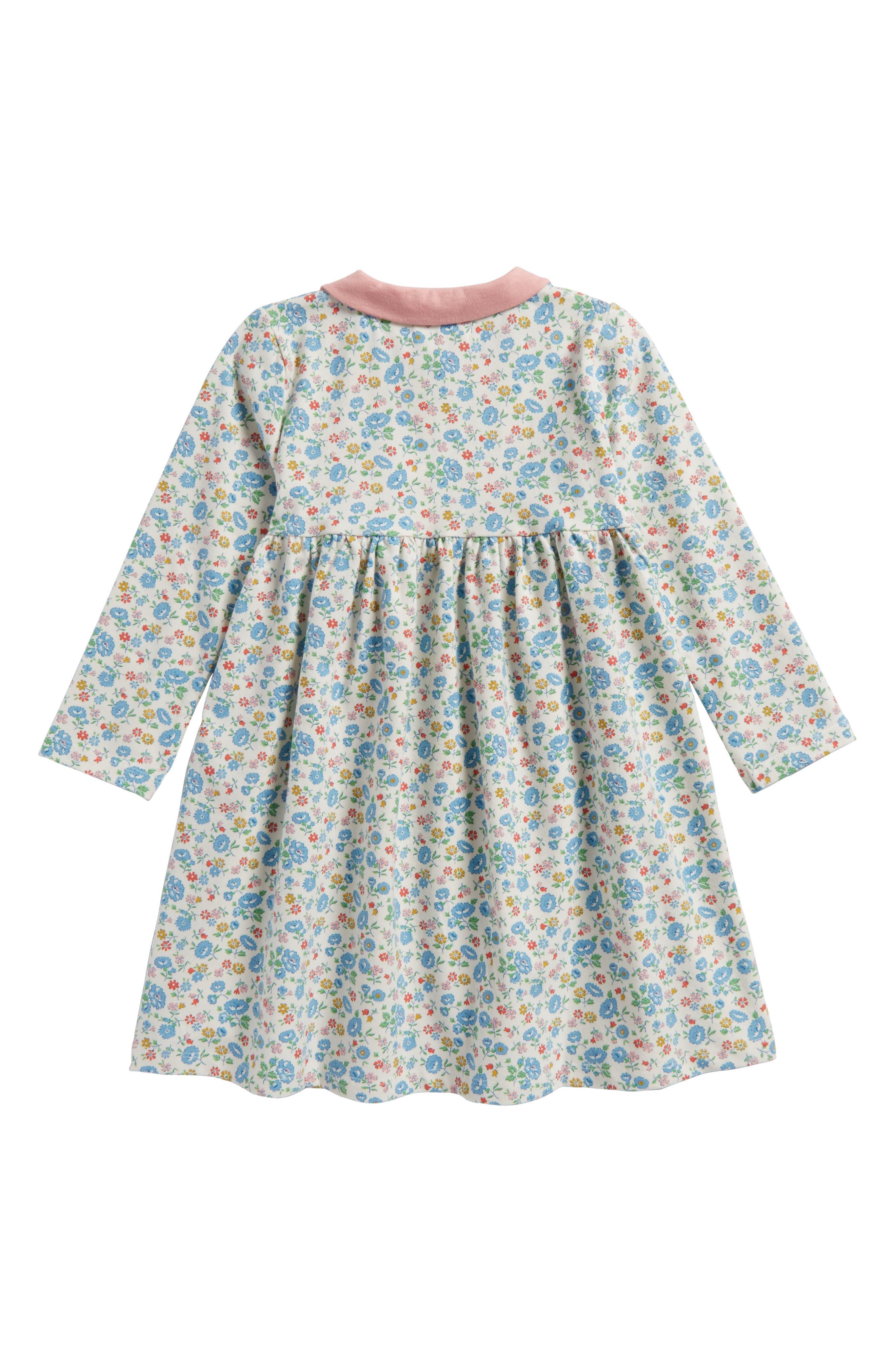 Pretty Peter Pan Collar Jersey Dress,                             Alternate thumbnail 2, color,                             Ecru Summer Floral