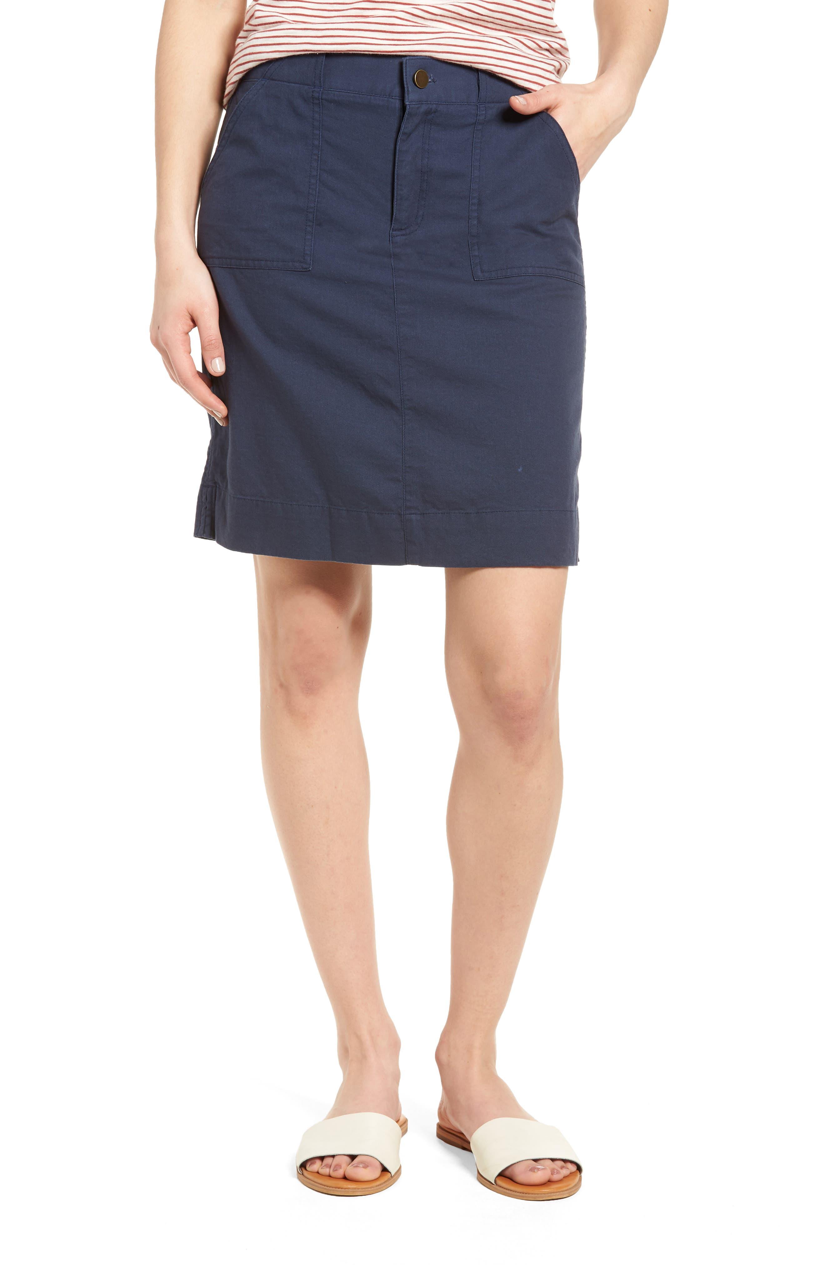 Twill Utility Skirt,                         Main,                         color, Navy Indigo