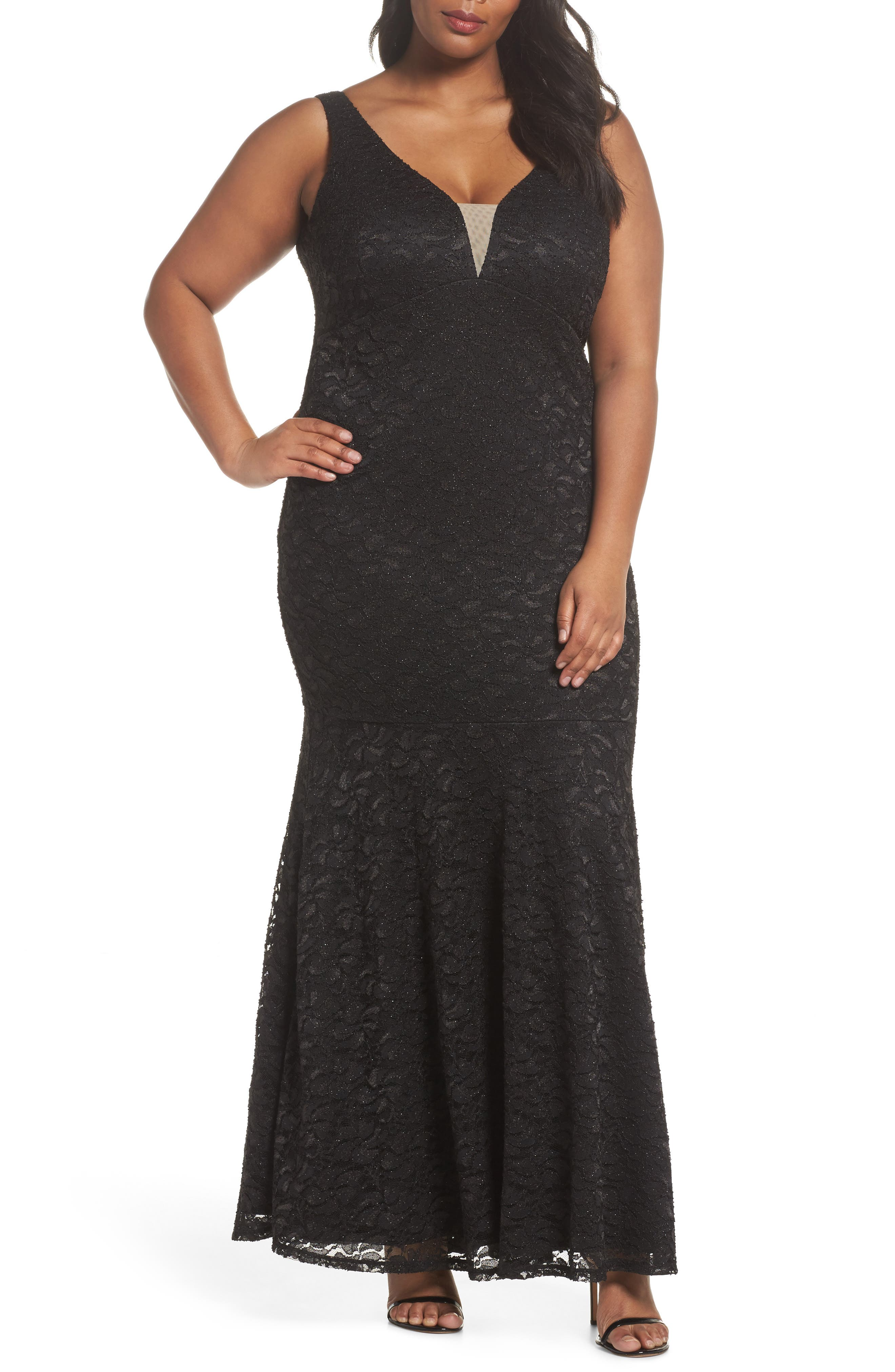 Plunge Lace Trumpet Gown,                         Main,                         color, Black