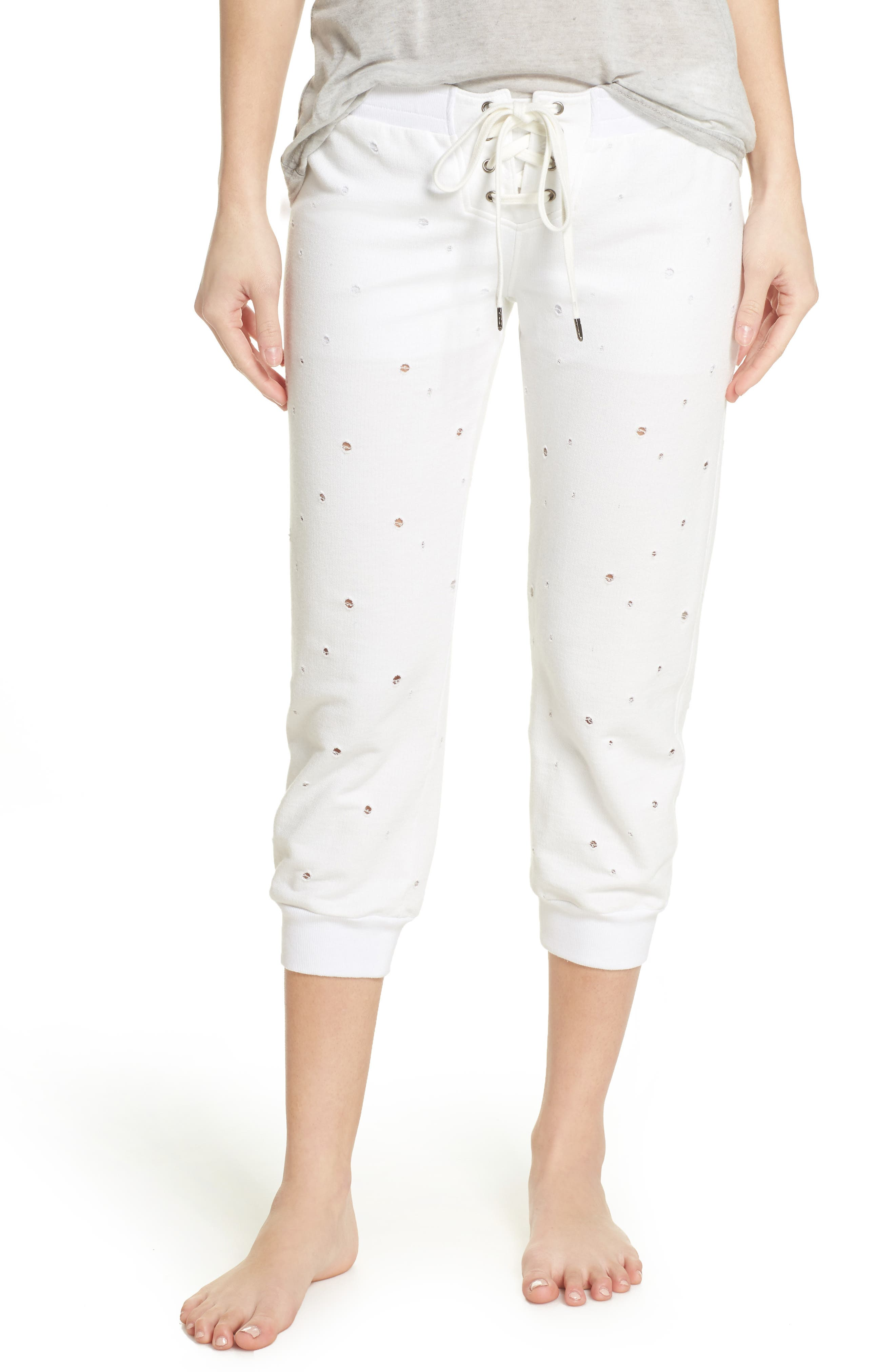 Distressed Crop Lounge Pants,                             Main thumbnail 1, color,                             White