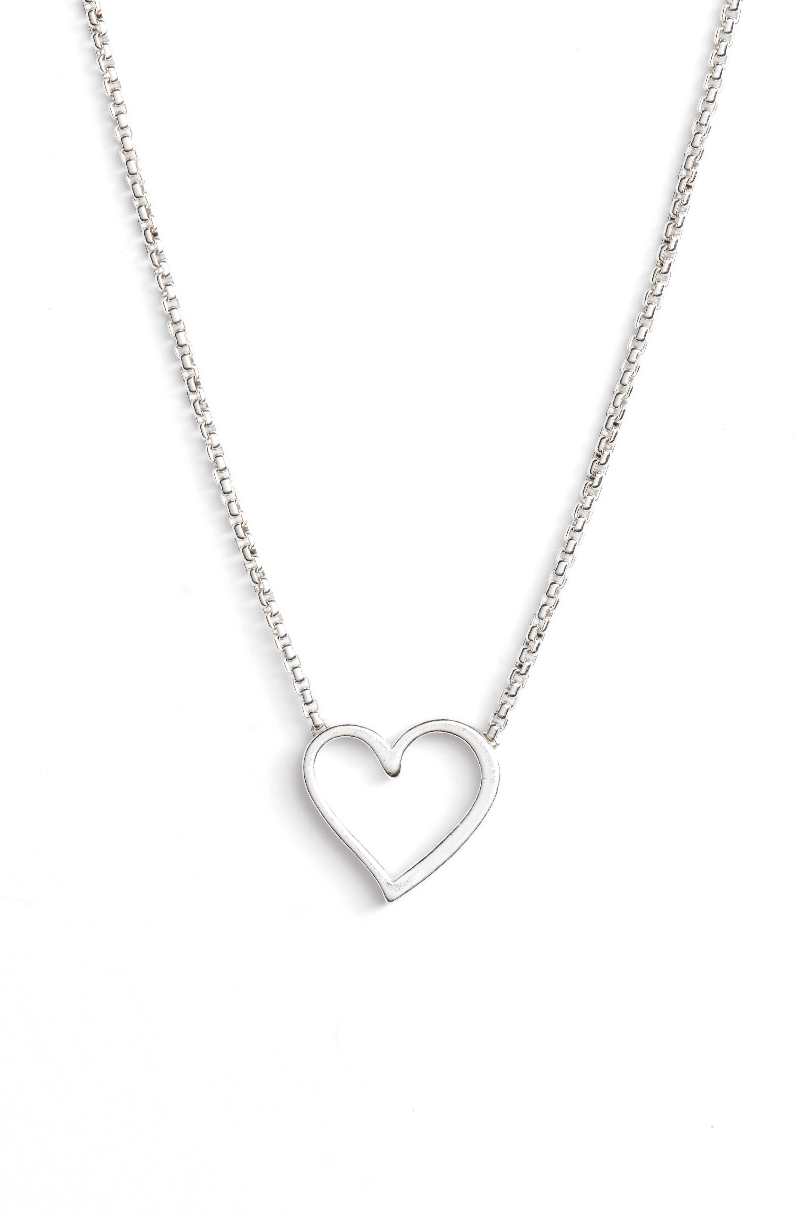 Heart Necklace,                         Main,                         color, Silver