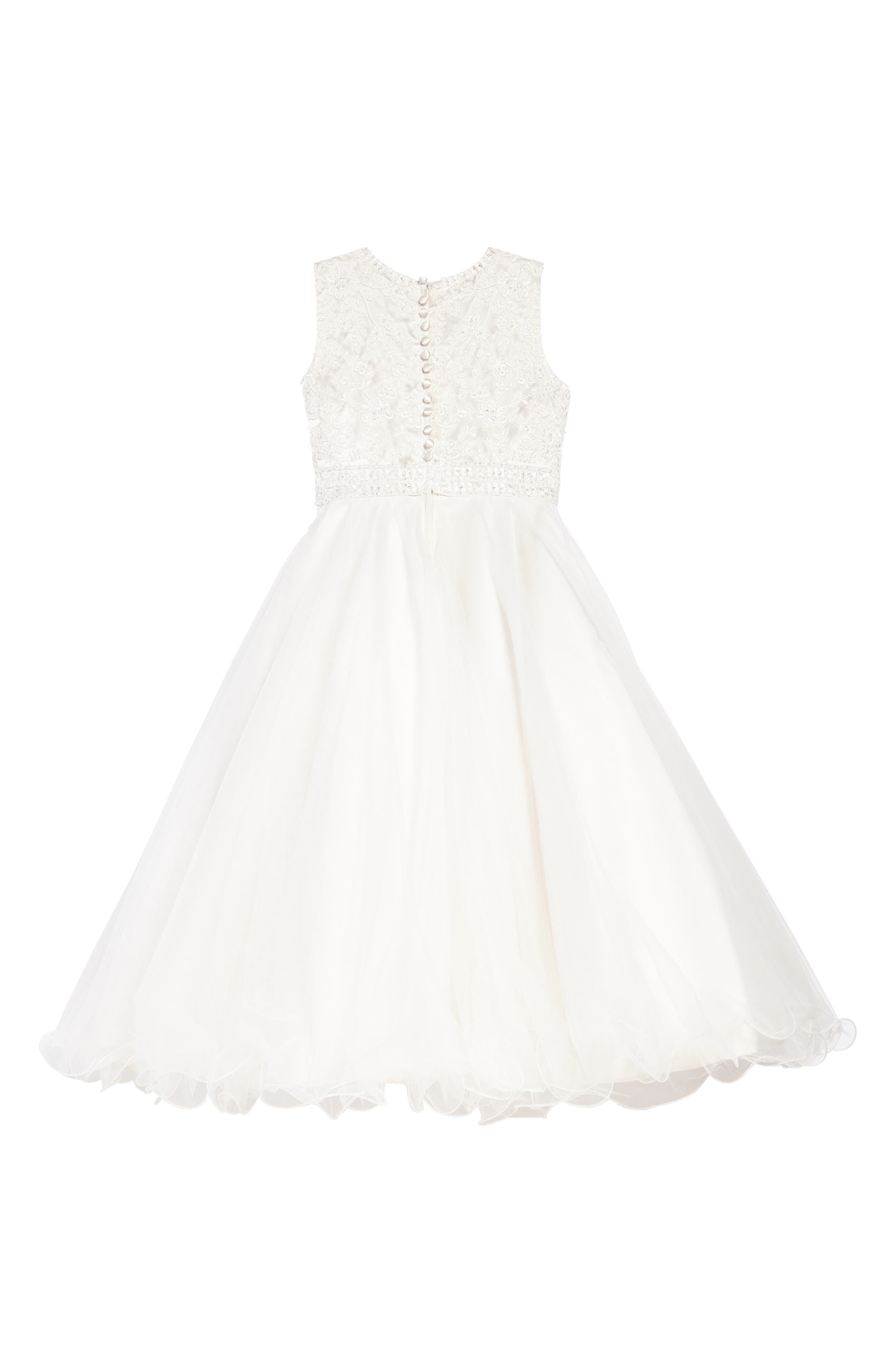 Lace & Tulle Dress,                             Alternate thumbnail 2, color,                             Ivory/ Gardenia