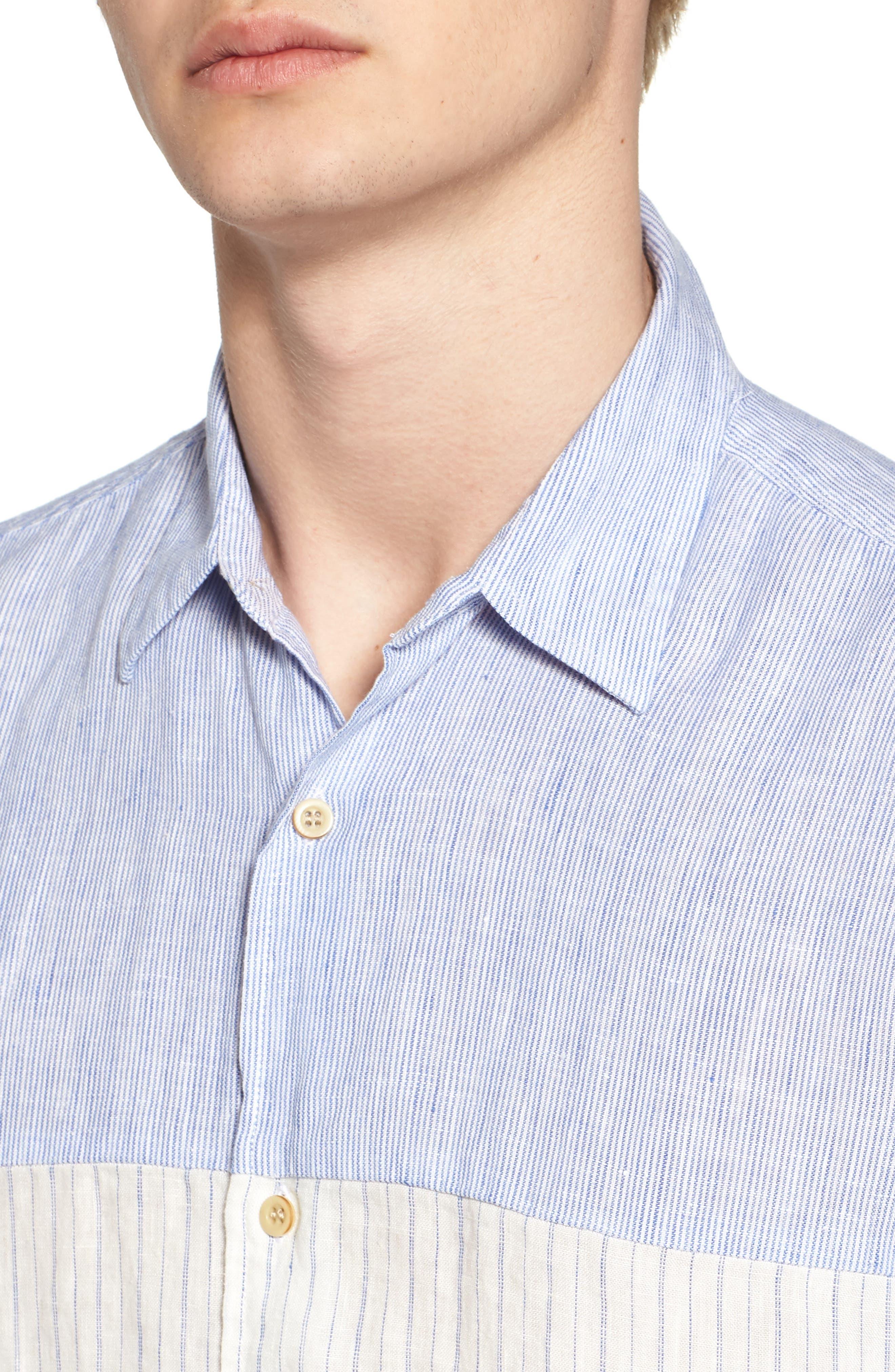 Relaxed Fit Stripe Linen & Cotton Sport Shirt,                             Alternate thumbnail 2, color,                             Rich Blue Stripes