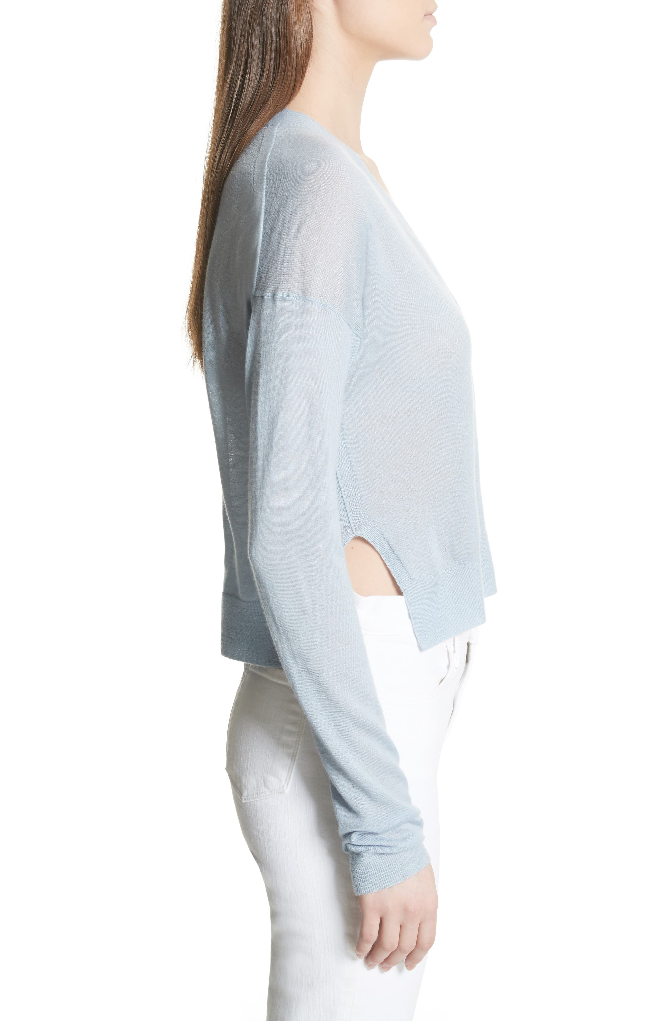Hanelee Featherweight Cashmere Cardigan,                             Alternate thumbnail 3, color,                             Baby Bluebell