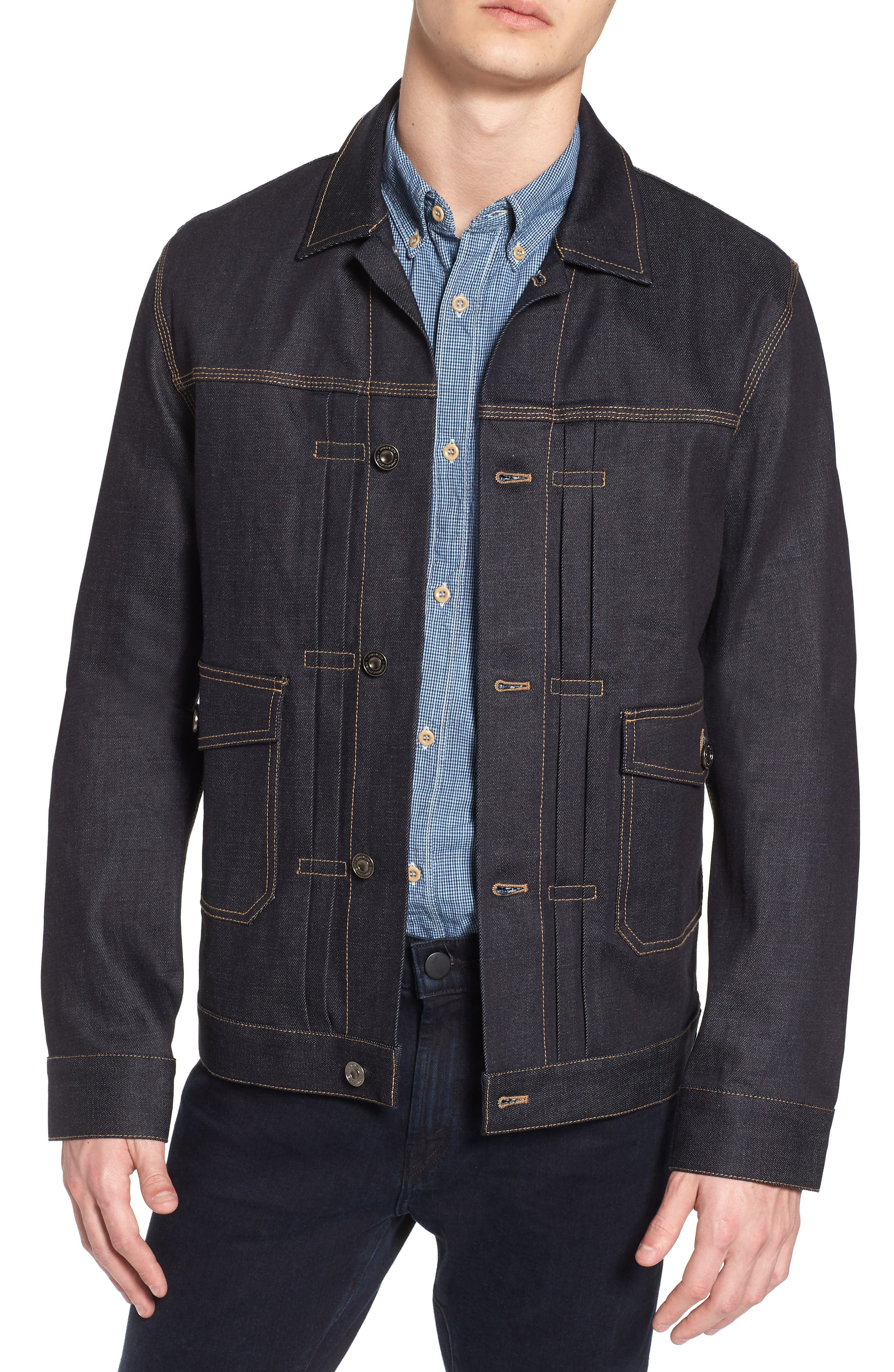Workwear Slim Fit Denim Jacket,                         Main,                         color, Raw