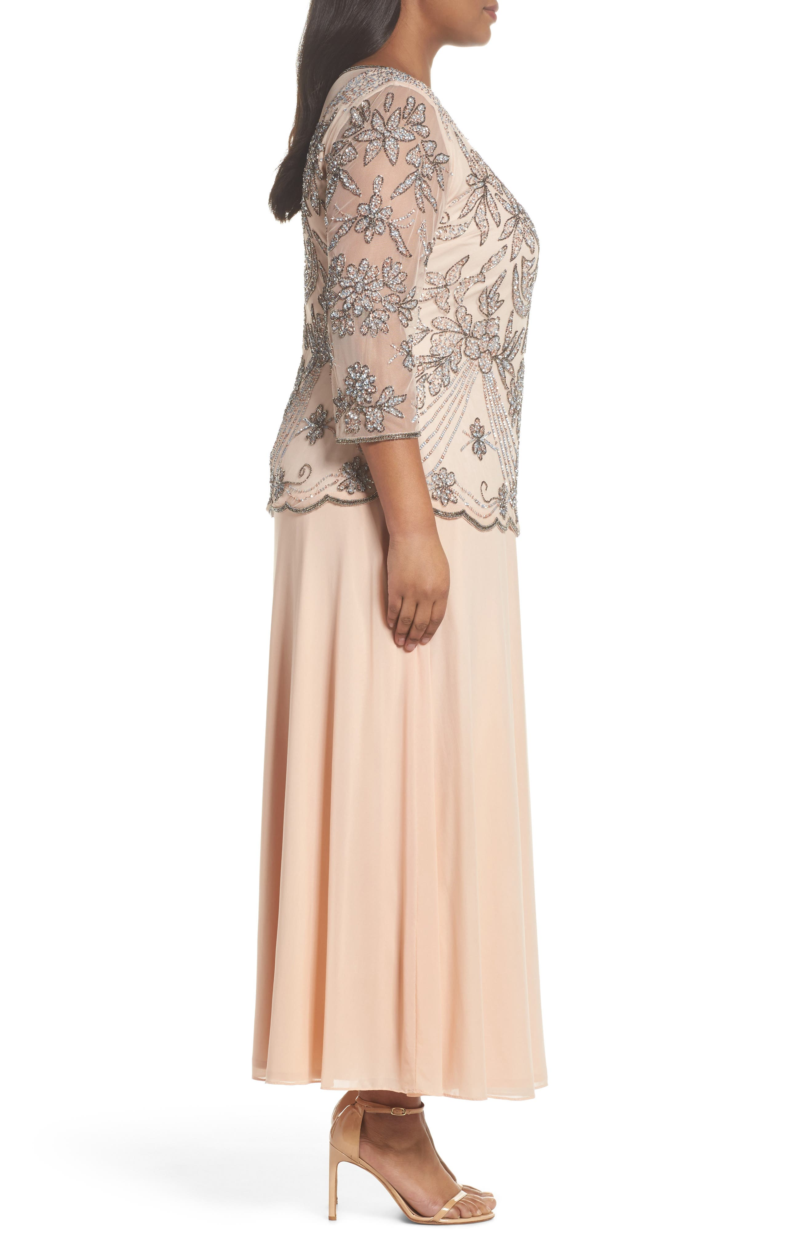 Embellished Illusion Bodice Gown,                             Alternate thumbnail 3, color,                             Blush