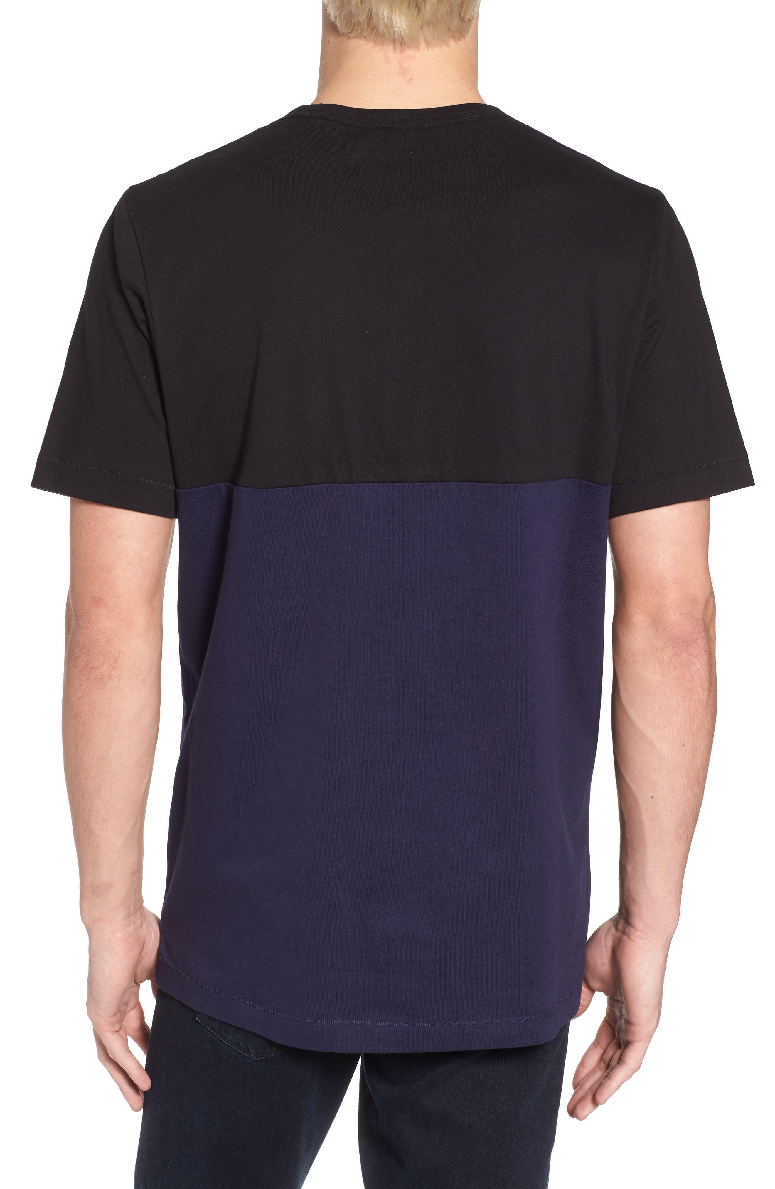 Half Stripe Crewneck T-Shirt,                             Alternate thumbnail 2, color,                             Black/ Blue Blood