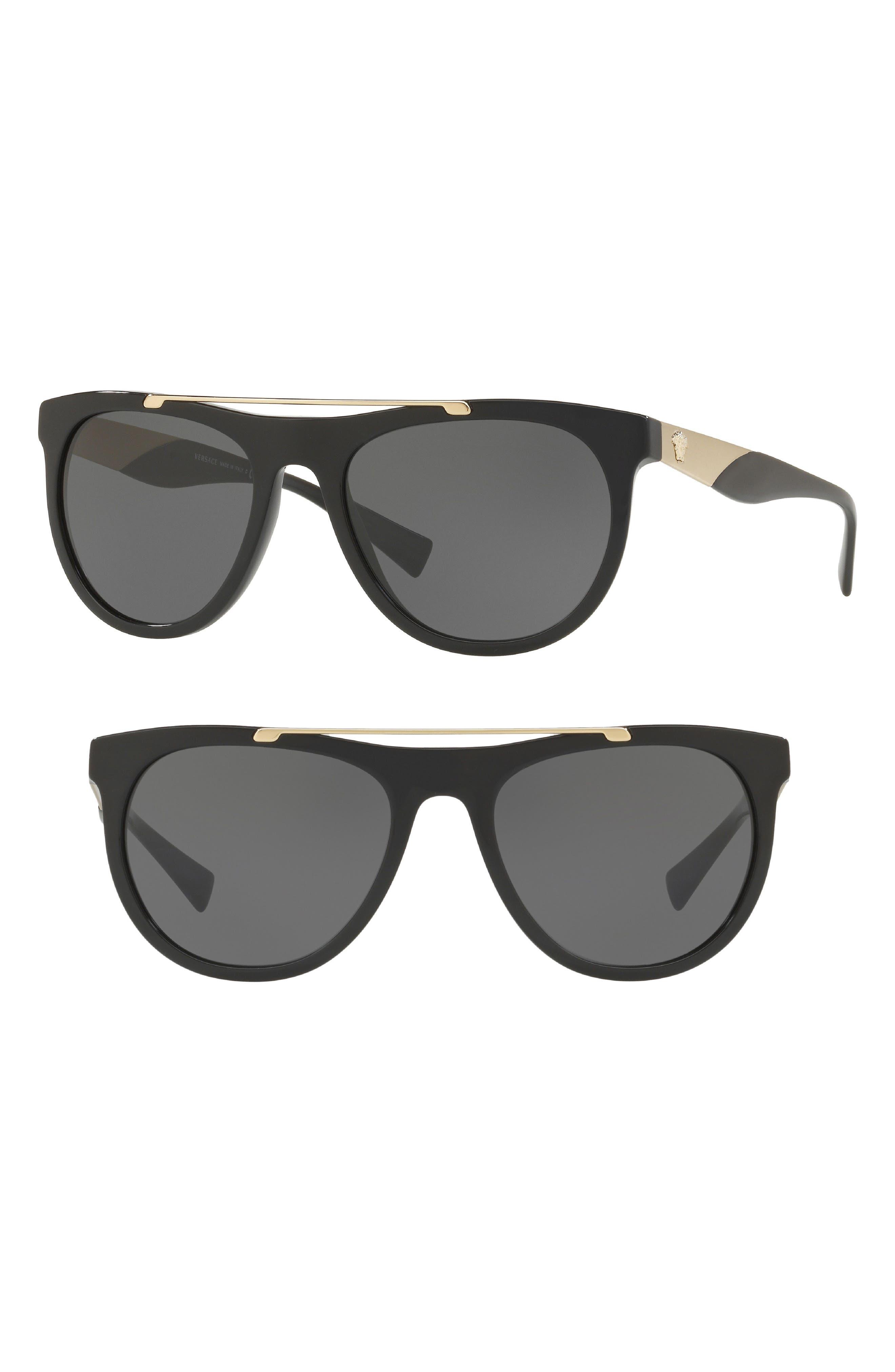 Versace Medusa 56mm Brow Bar Sunglasses