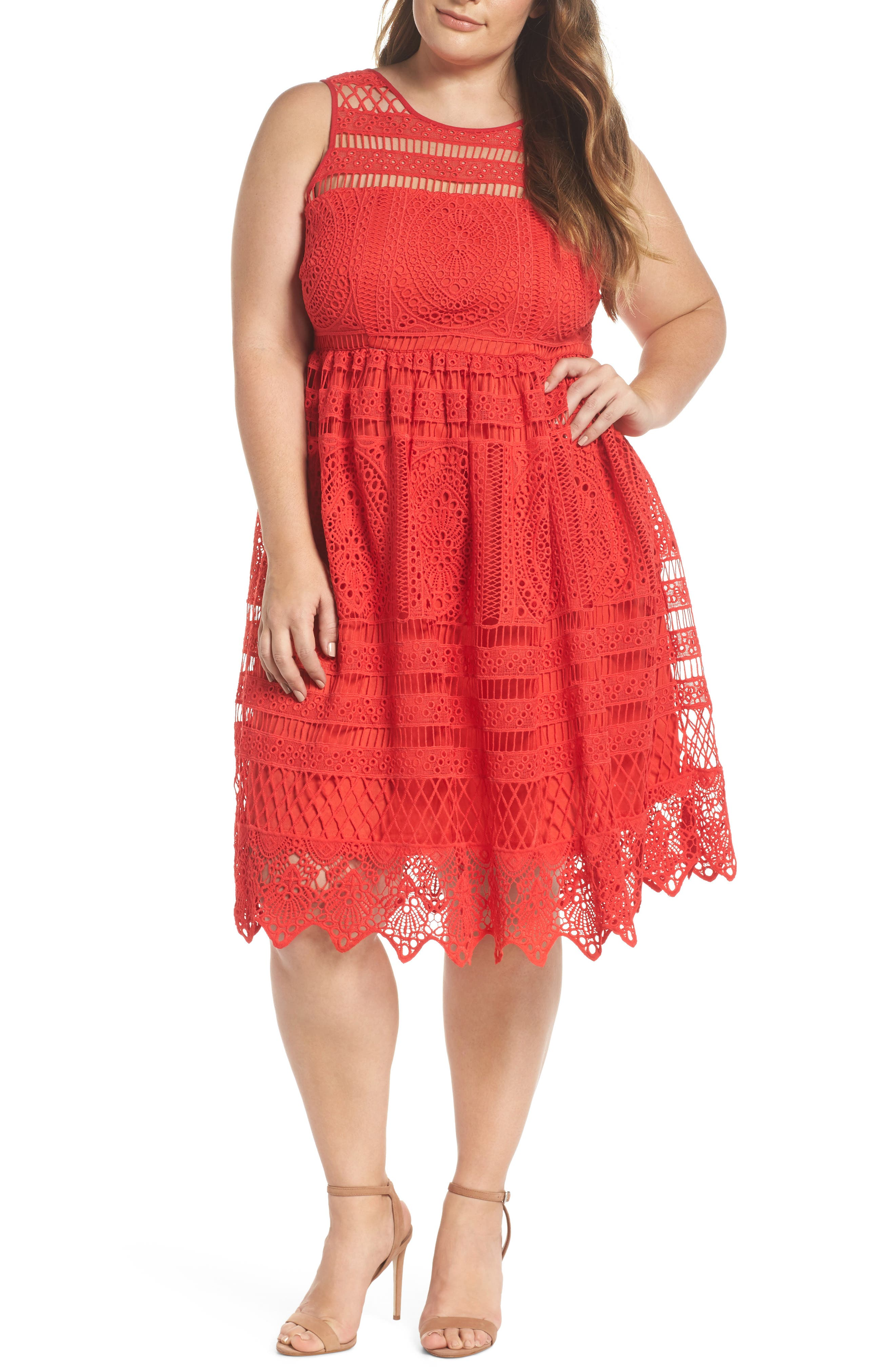 Eyelet Lace Fit & Flare Dress,                             Main thumbnail 1, color,                             Red