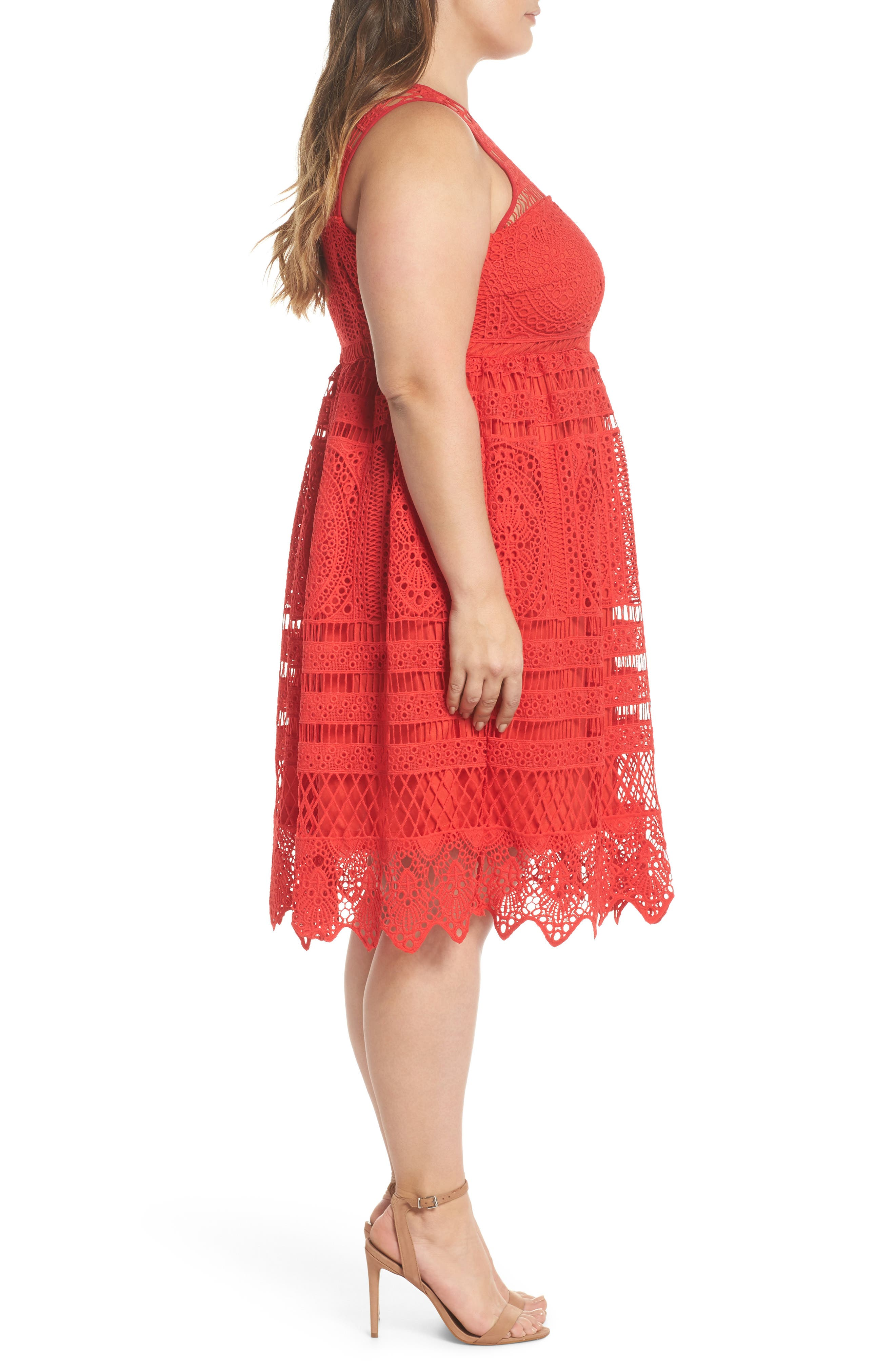 Eyelet Lace Fit & Flare Dress,                             Alternate thumbnail 3, color,                             Red