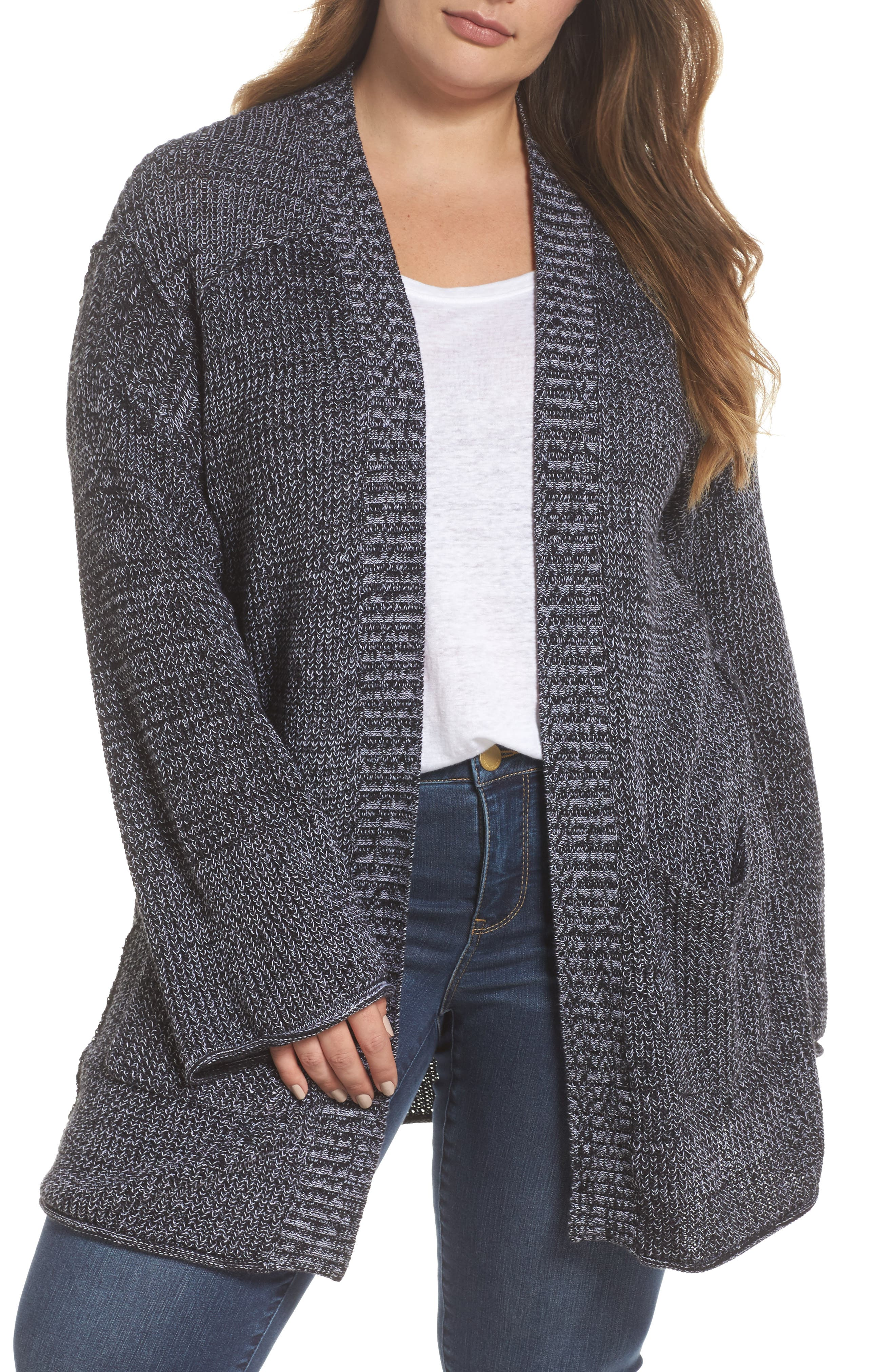 Caslon® Sweater Knit Cardigan (Plus Size)