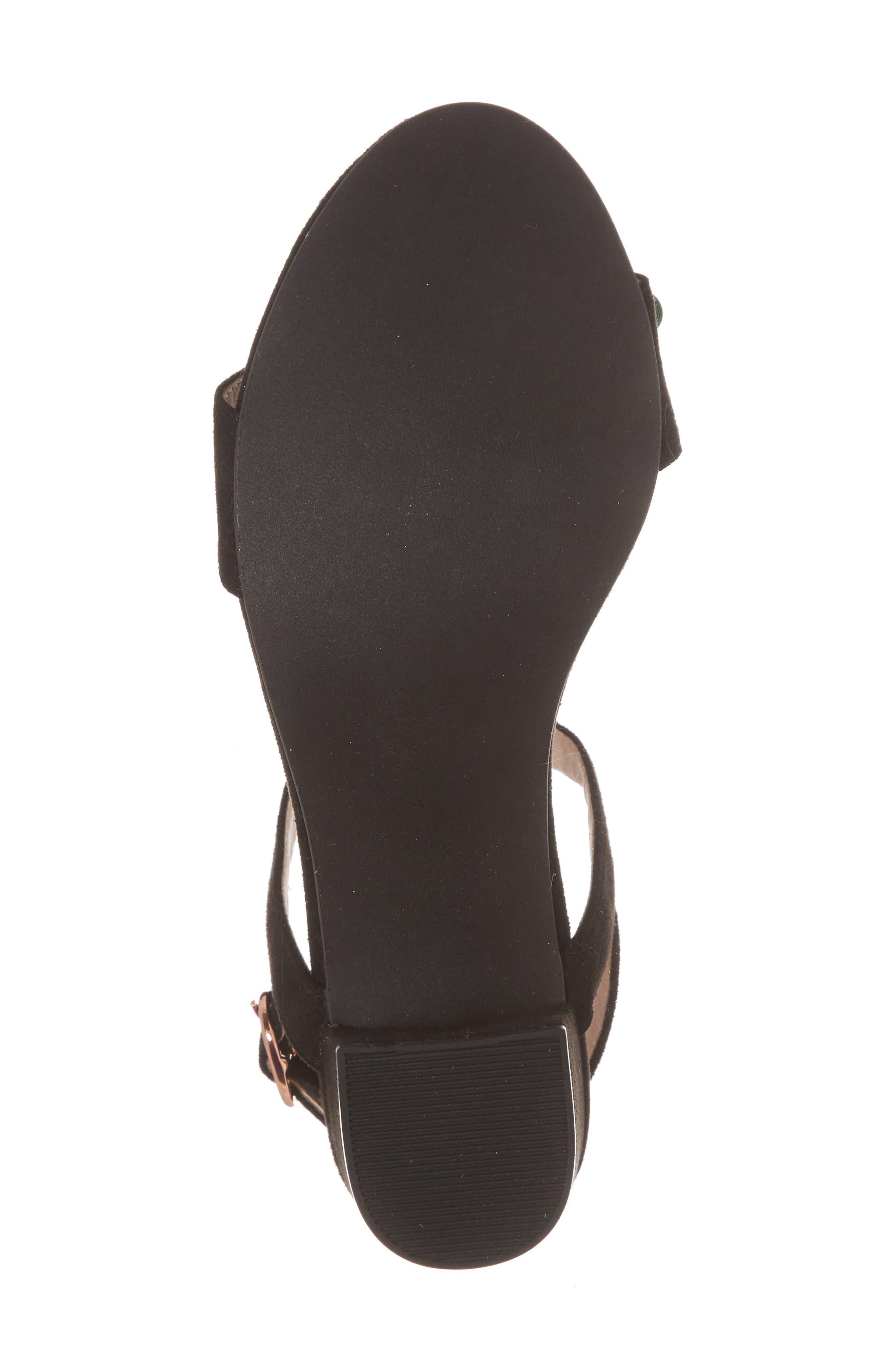 Dina Floral Embellished Sandal,                             Alternate thumbnail 6, color,                             Black Fabric