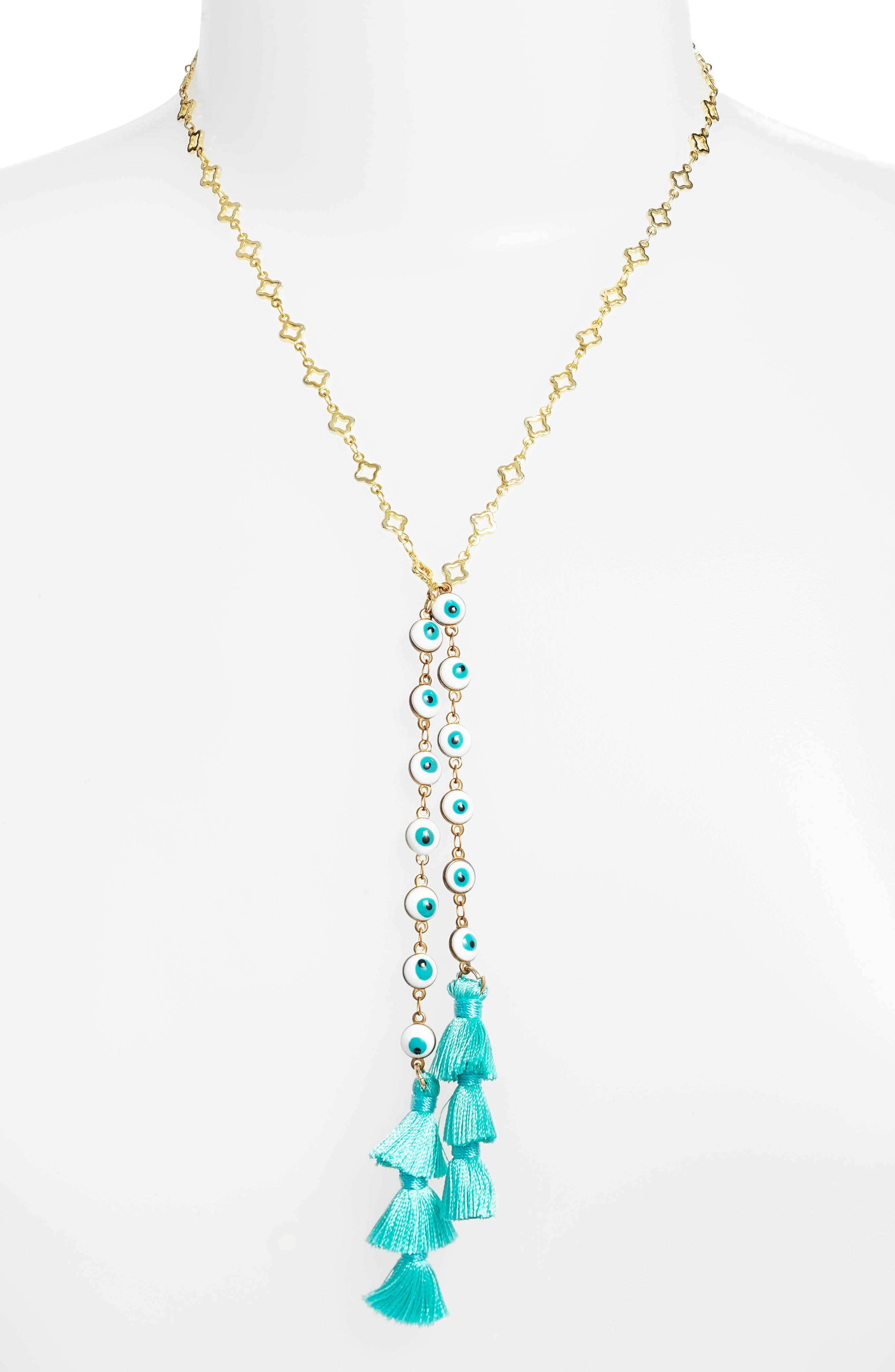 Trieste Bolo Necklace,                         Main,                         color, Gold/ Teal
