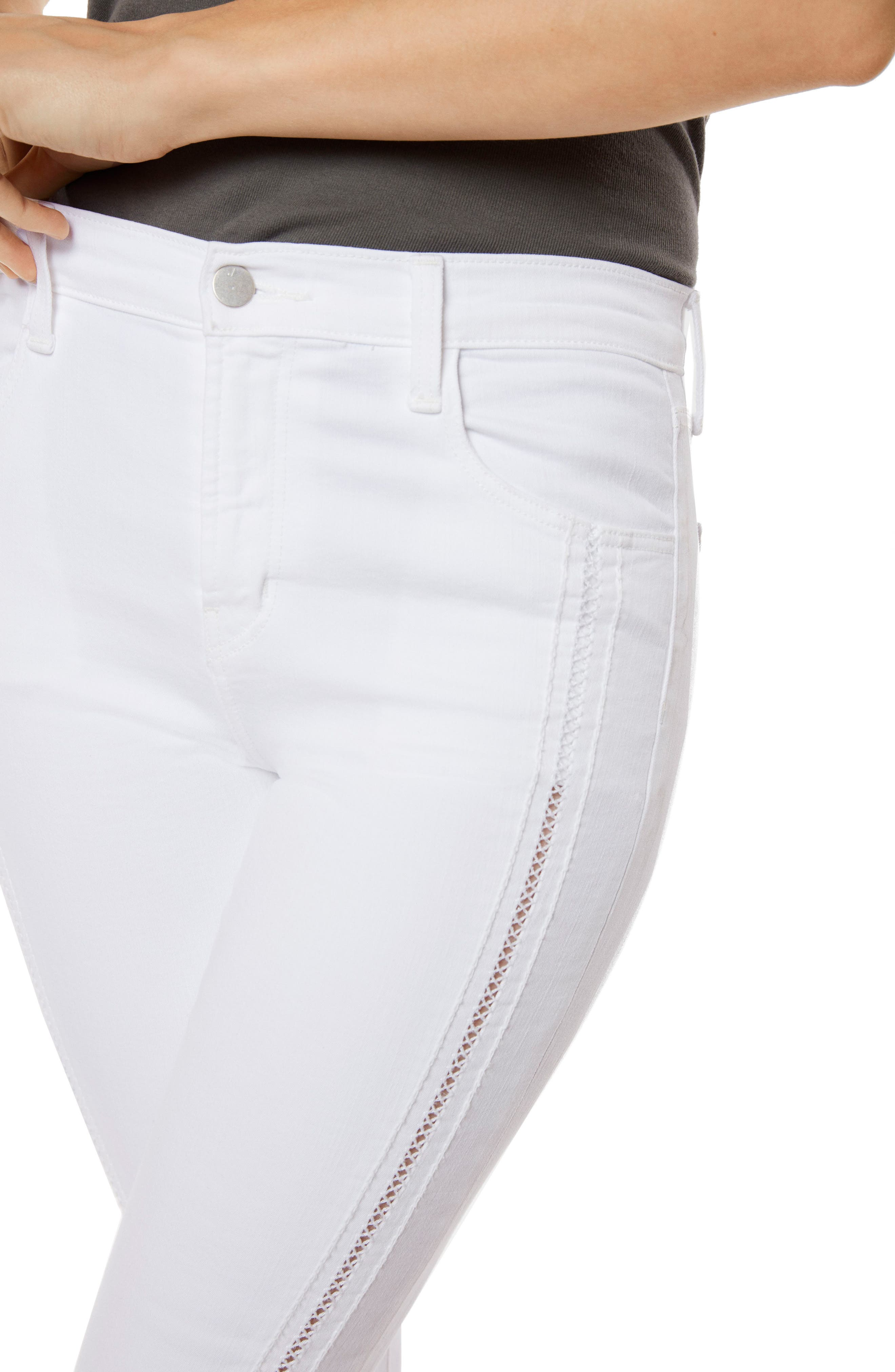 Alana High Waist Crop Skinny Jeans,                             Alternate thumbnail 3, color,                             White Ladder Lace
